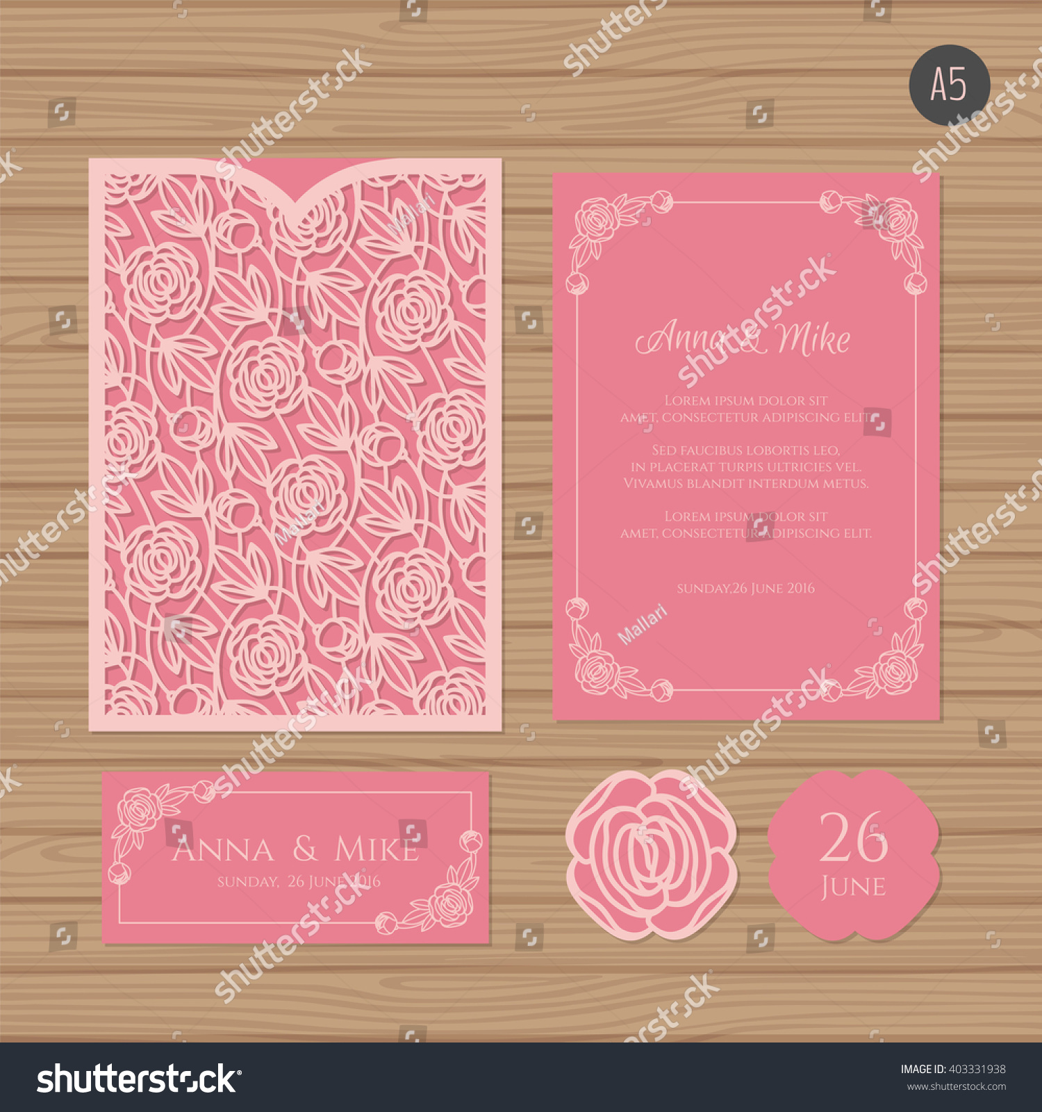 Wedding invitation or greeting card with floral ornament Paper lace envelope template Wedding invitation envelope mock-up for laser cutting Vector illustration