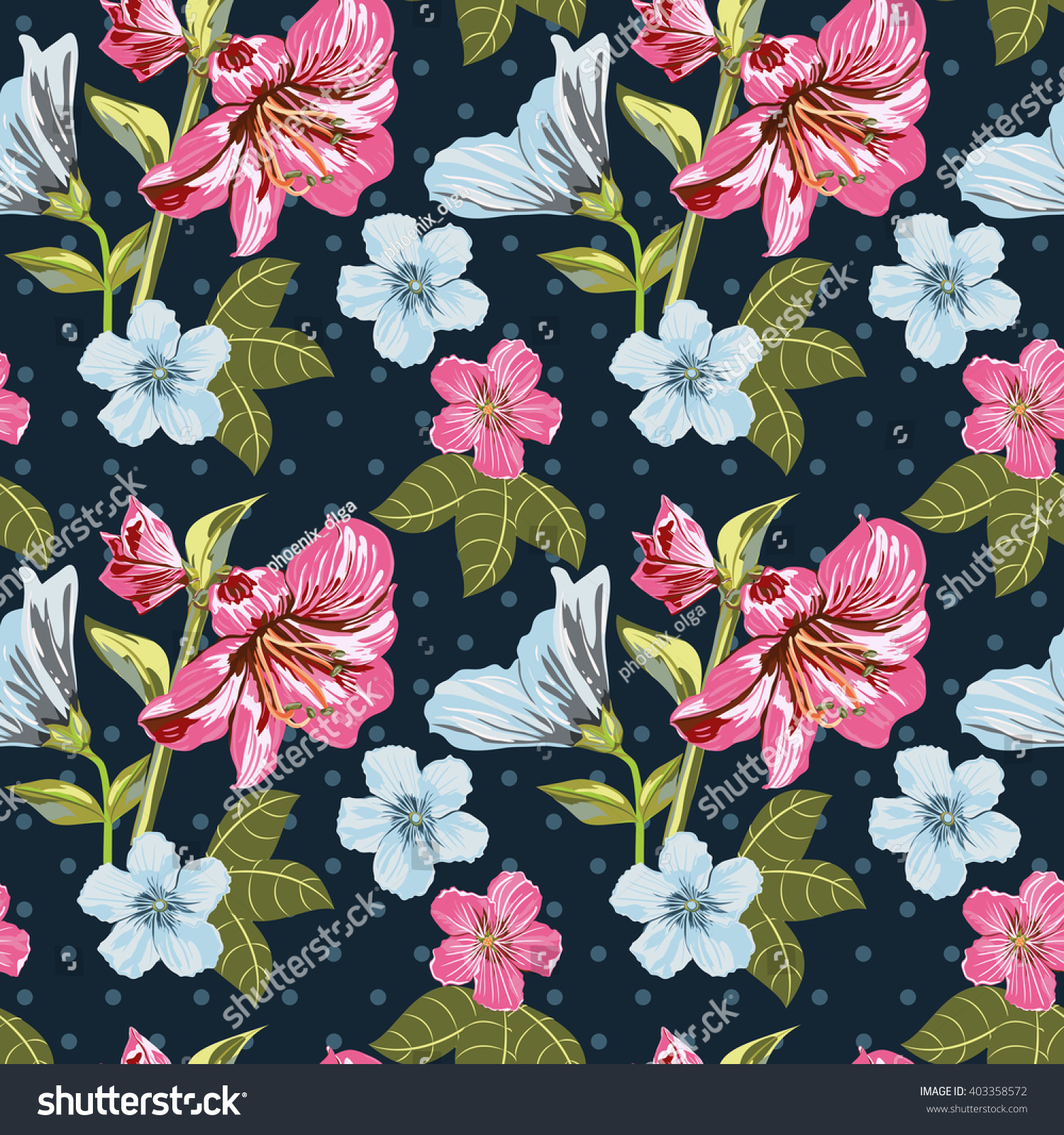Vector Seamless Floral Pattern Flower Pattern Stock Vector Royalty