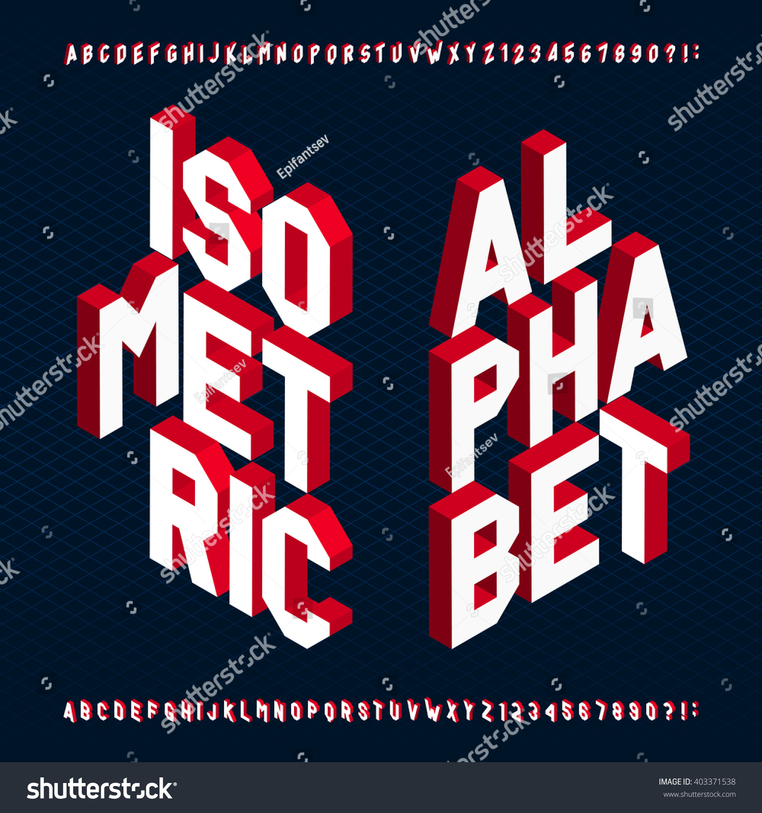 3d isometric alphabet font letters numbers stock vector 403371538 shutterstock