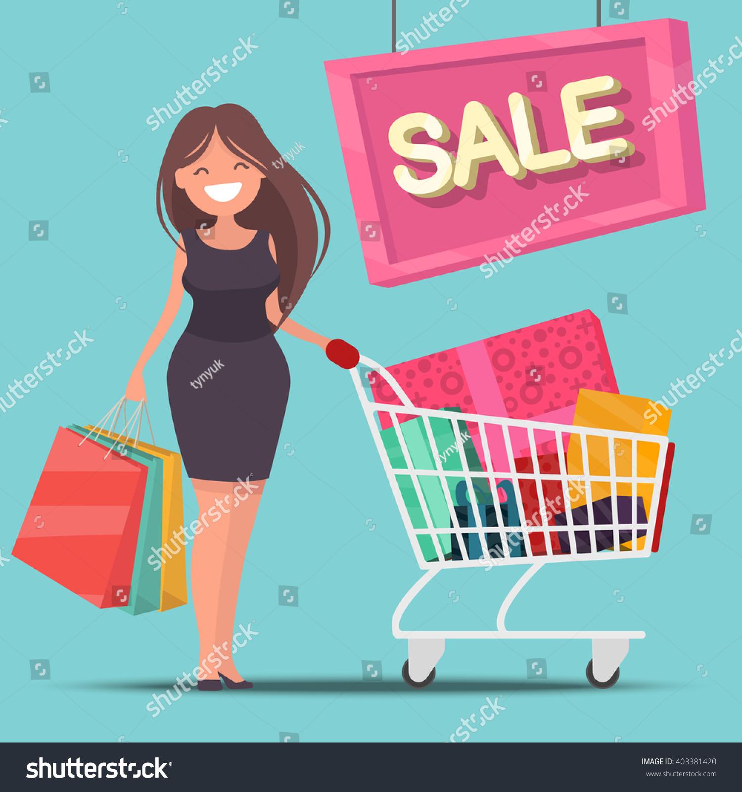 Girl Shopping Cart Bags Sale Vector Stock Vector 403381420 ...
