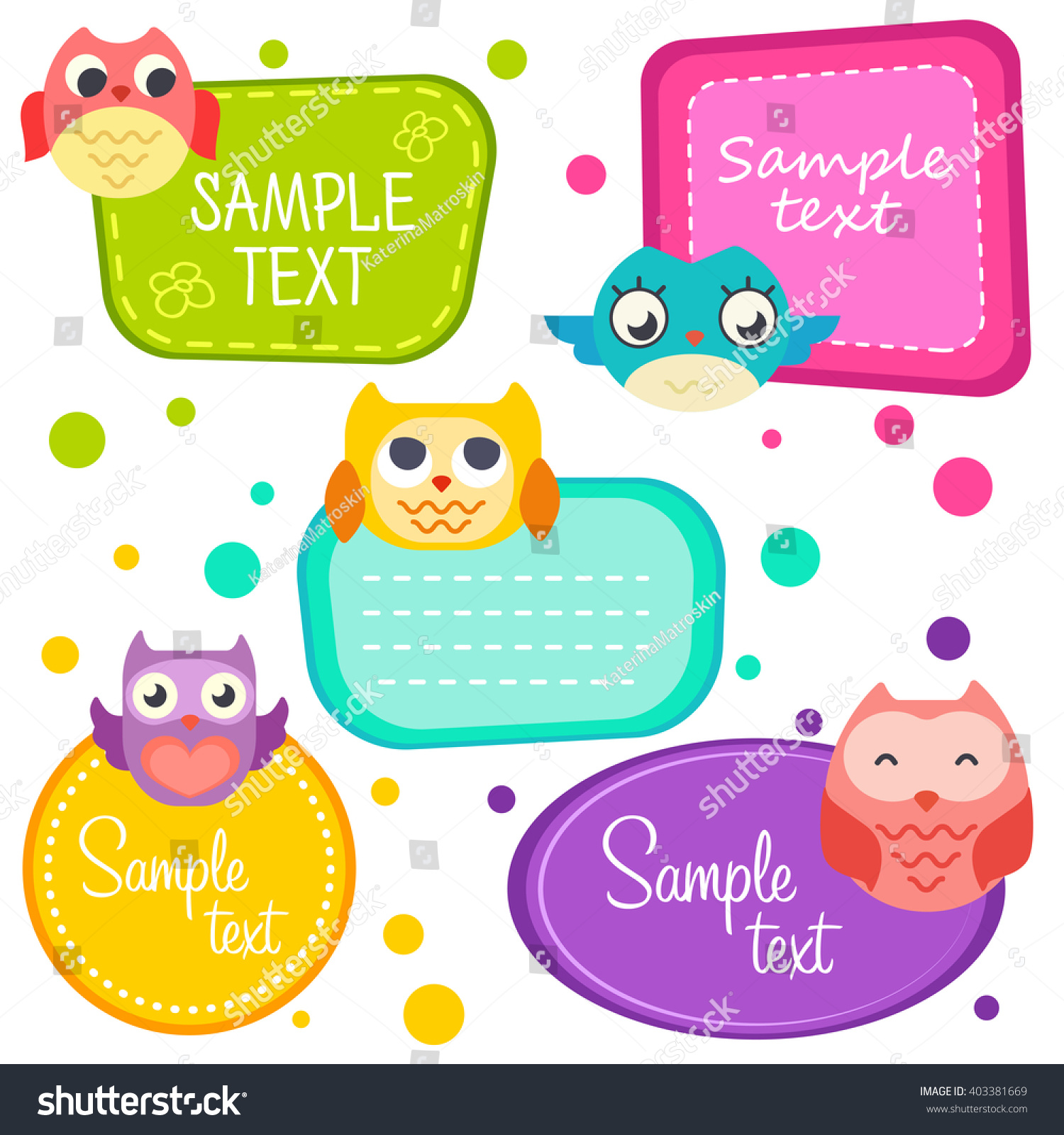 illustration cute cartoon owls set frame stock vector (royalty free