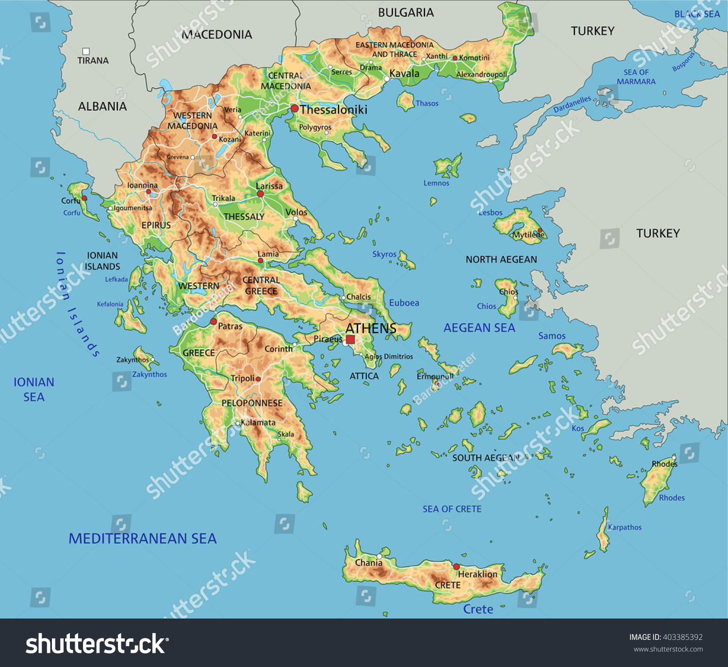 High Detailed Greece Physical Map Labeling Stock Vector - World physical map labeled