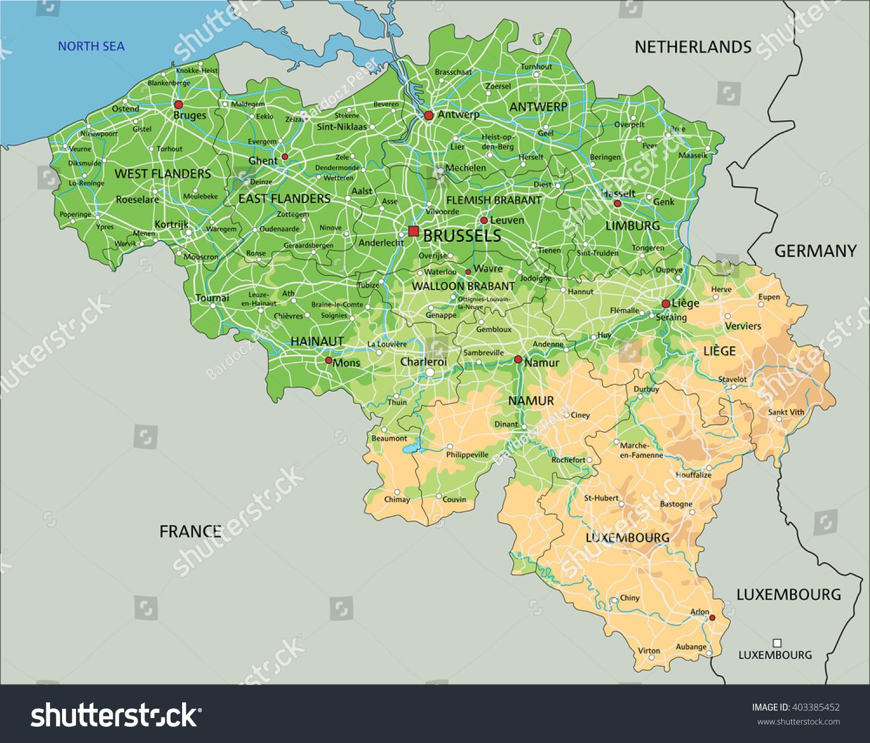 High Detailed Belgium Physical Map Labeling Stock Vector - Belgium eurozone map