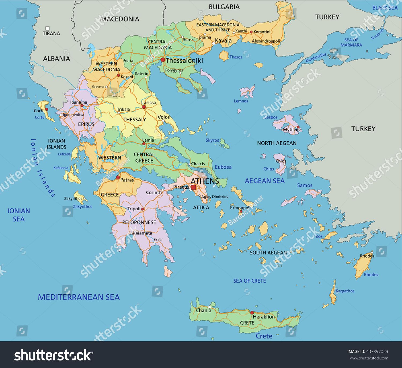 Greece Highly Detailed Editable Political Map Stock Vector Royalty