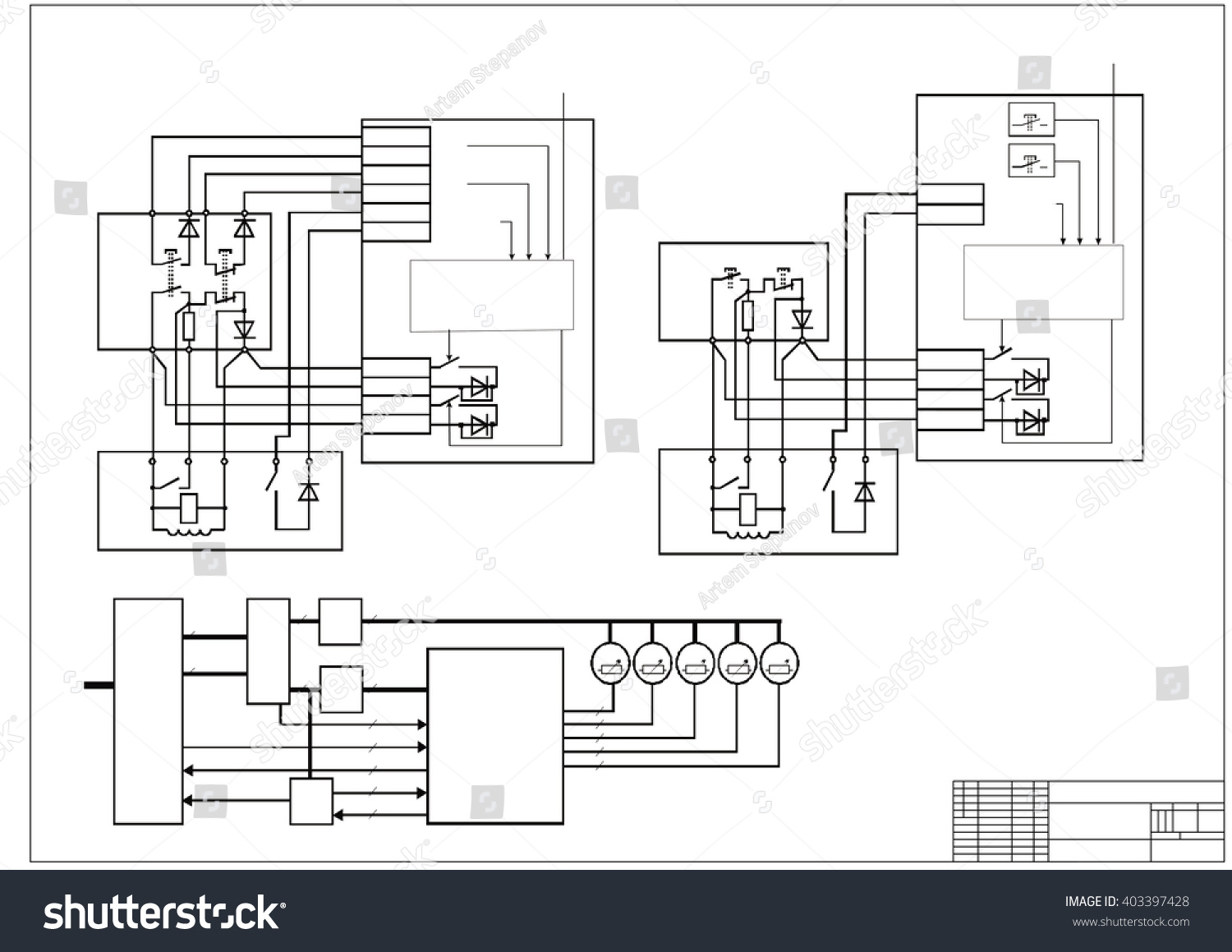 Schematic Diagram Power Supply Circuit Stock Vector Royalty Drawing