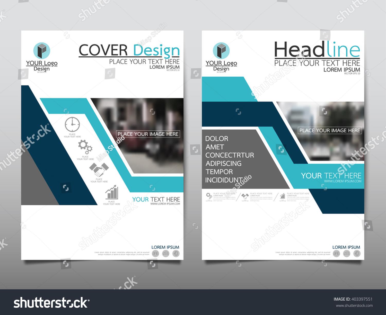 blue triangle annual report brochure flyer design template vector