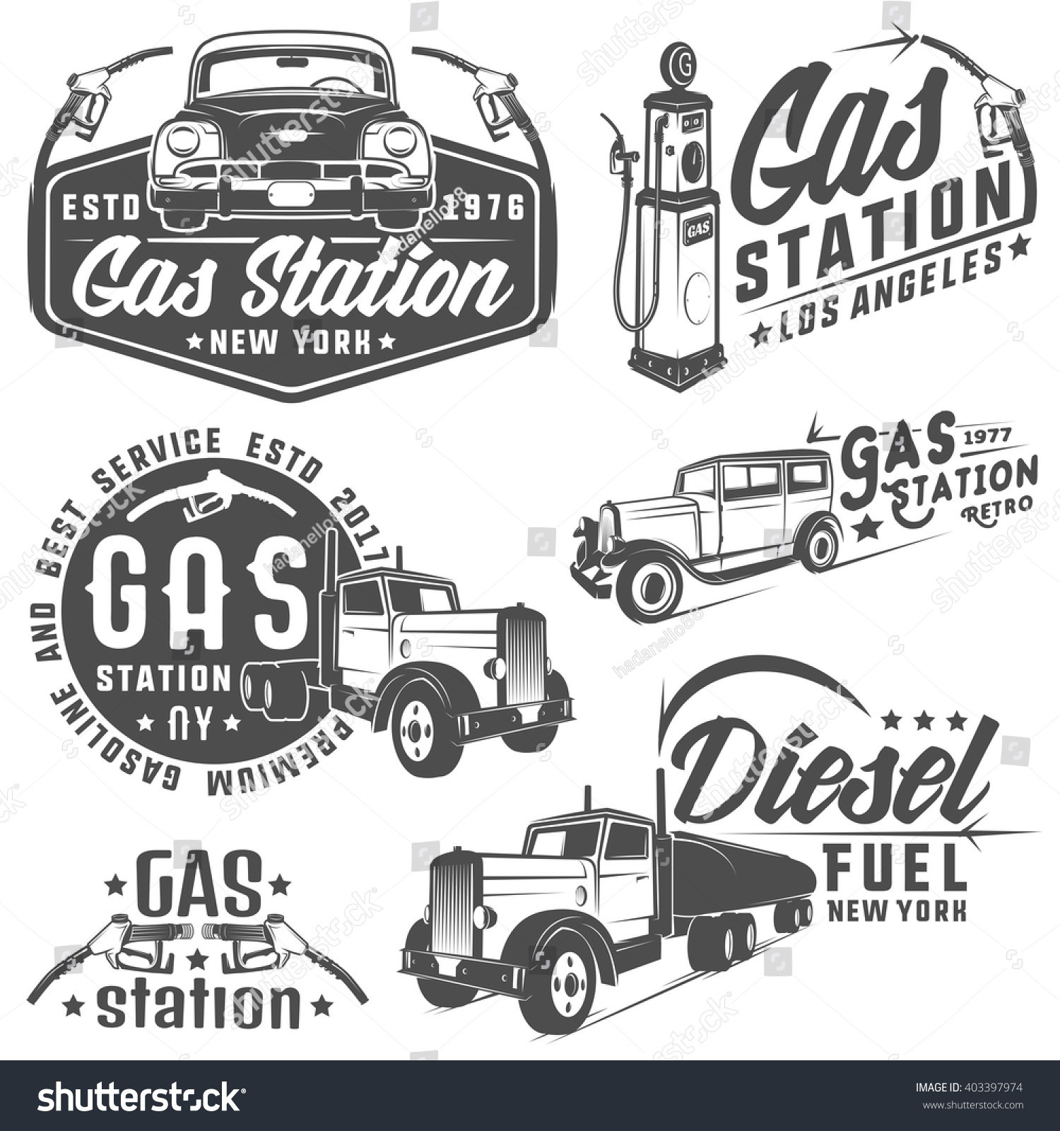 set retro gas station car design stock vector 403397974