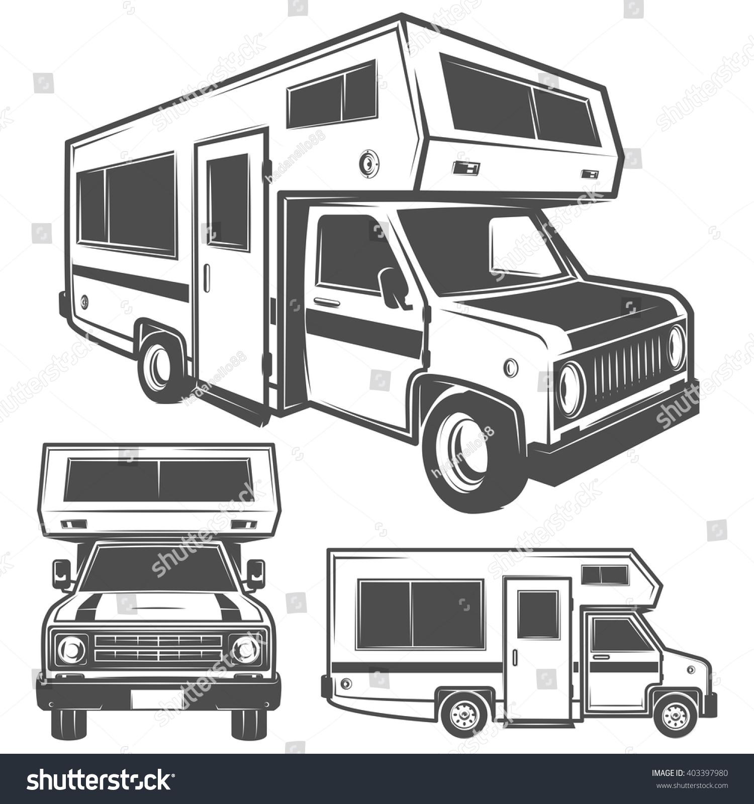 Recreational Vehicle: Rv Cars Recreational Vehicles Camper Vans Stock Vector