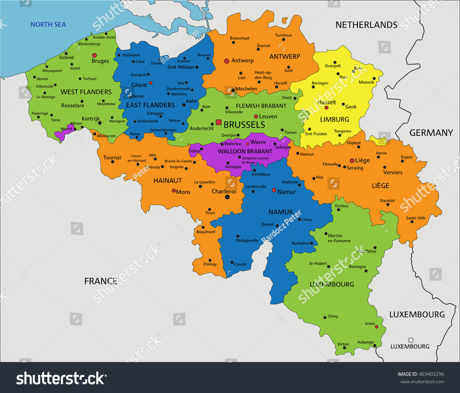 colorful belgium political map with clearly labeled separated layers vector illustration