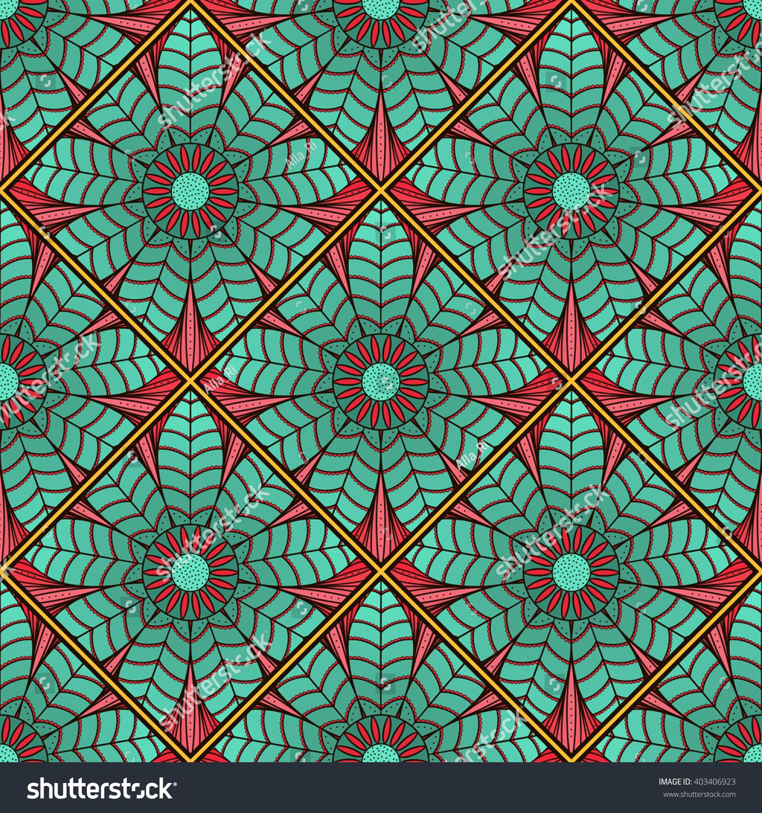 Mosaic Pattern Lotus Flower Endless Texture Stock Illustration