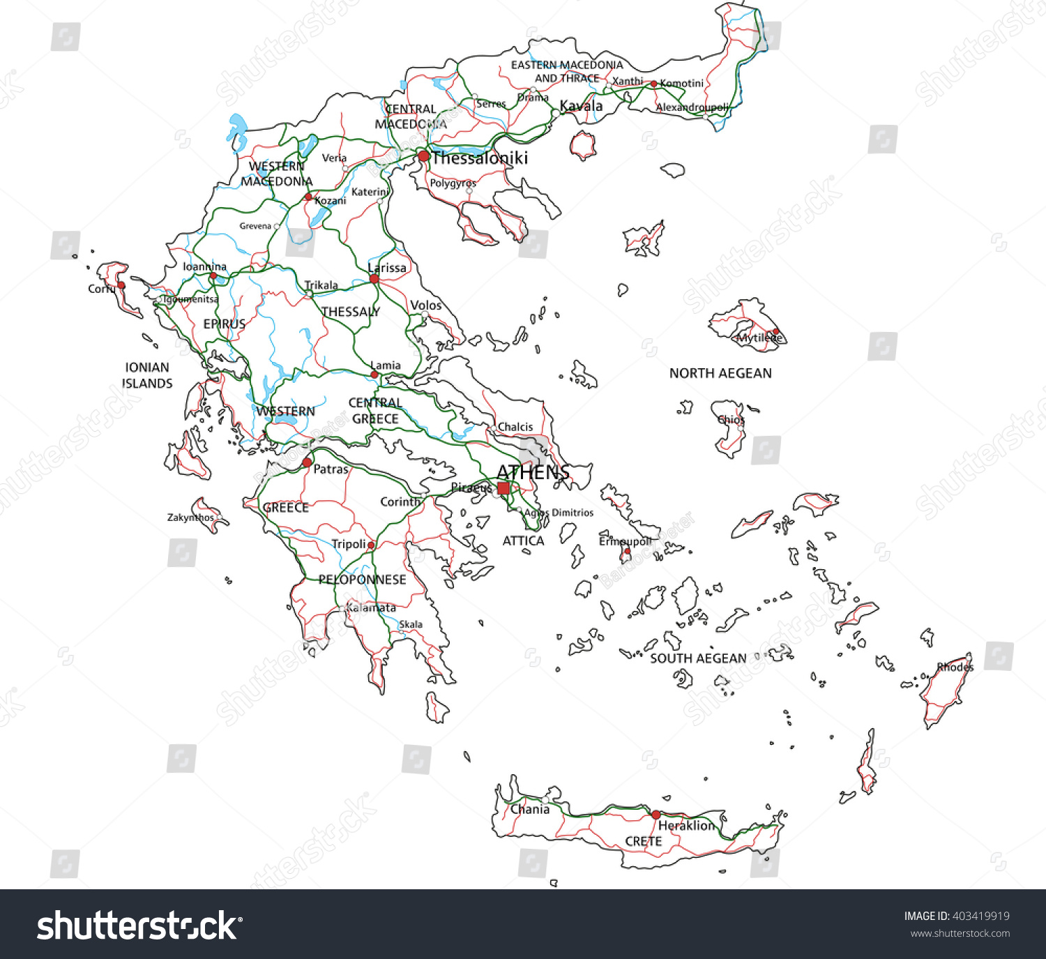 Map of administrative divisions of Greece | EZ Canvas