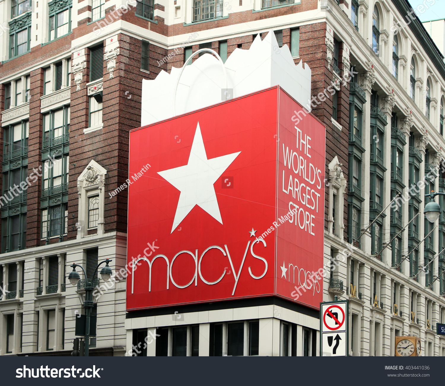 New York New York USA APRIL 10 2016 The entrance of Macy's New York flagship department store in Herald Square on Broadway This is the largest department store in the world