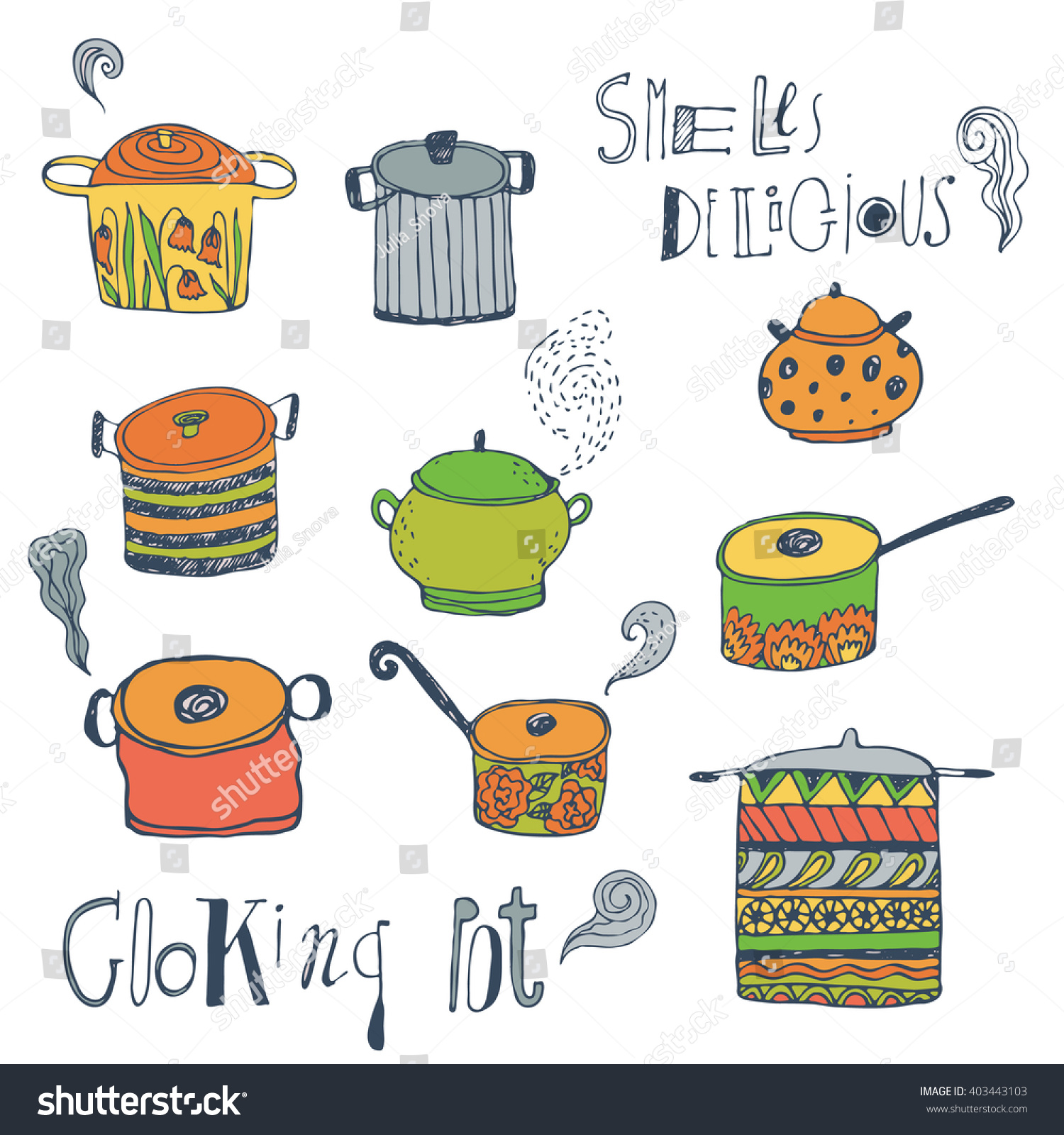 Scrapbook paper cooking - Cute Cooking Pots And Lettering Colored Vector Set Trendy Background For Scrapbook Paper