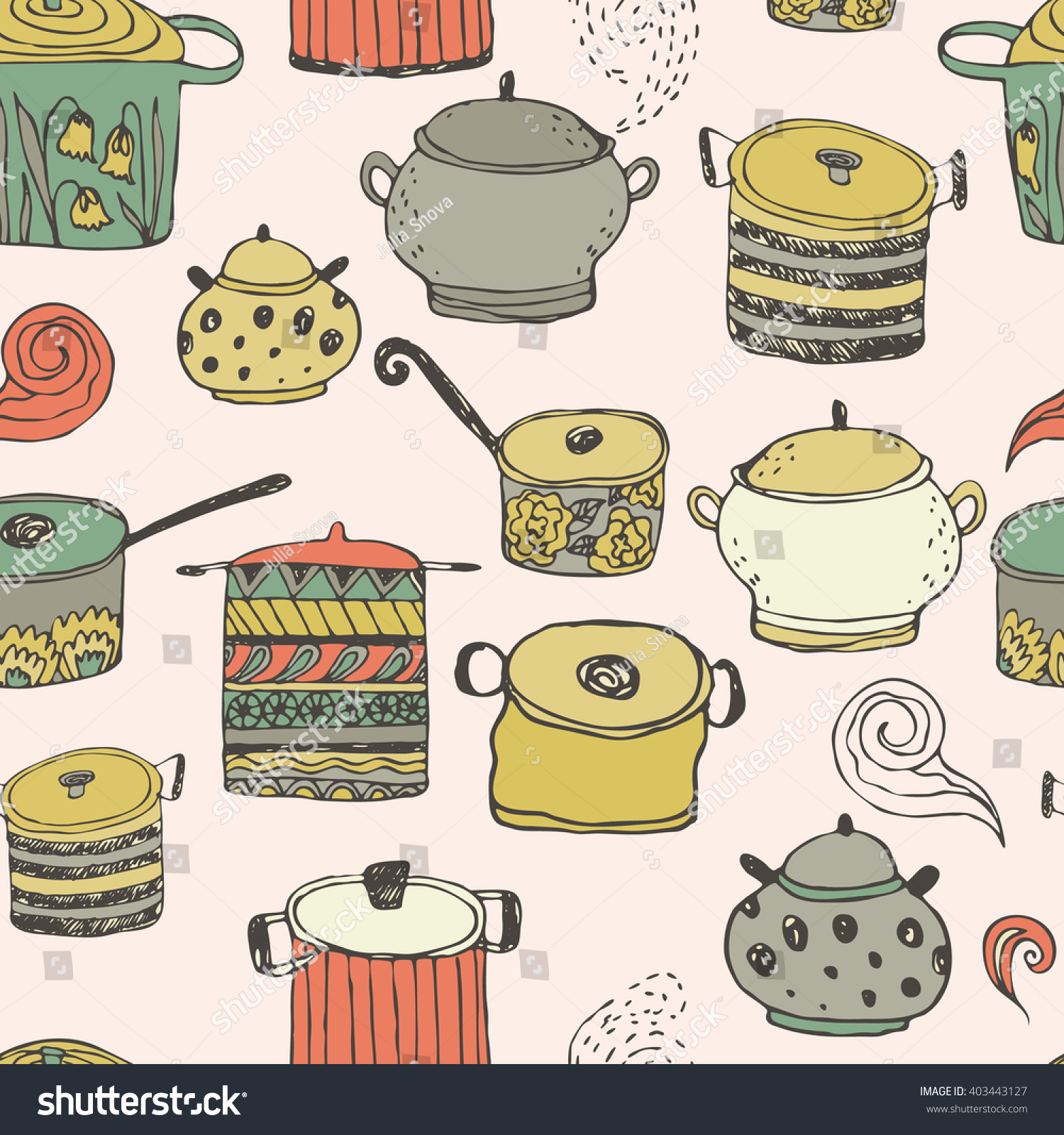 Scrapbook paper cooking - Cute Cooking Pots And Lettering Seamless Vector Pattern Trendy Background For Scrapbook Paper