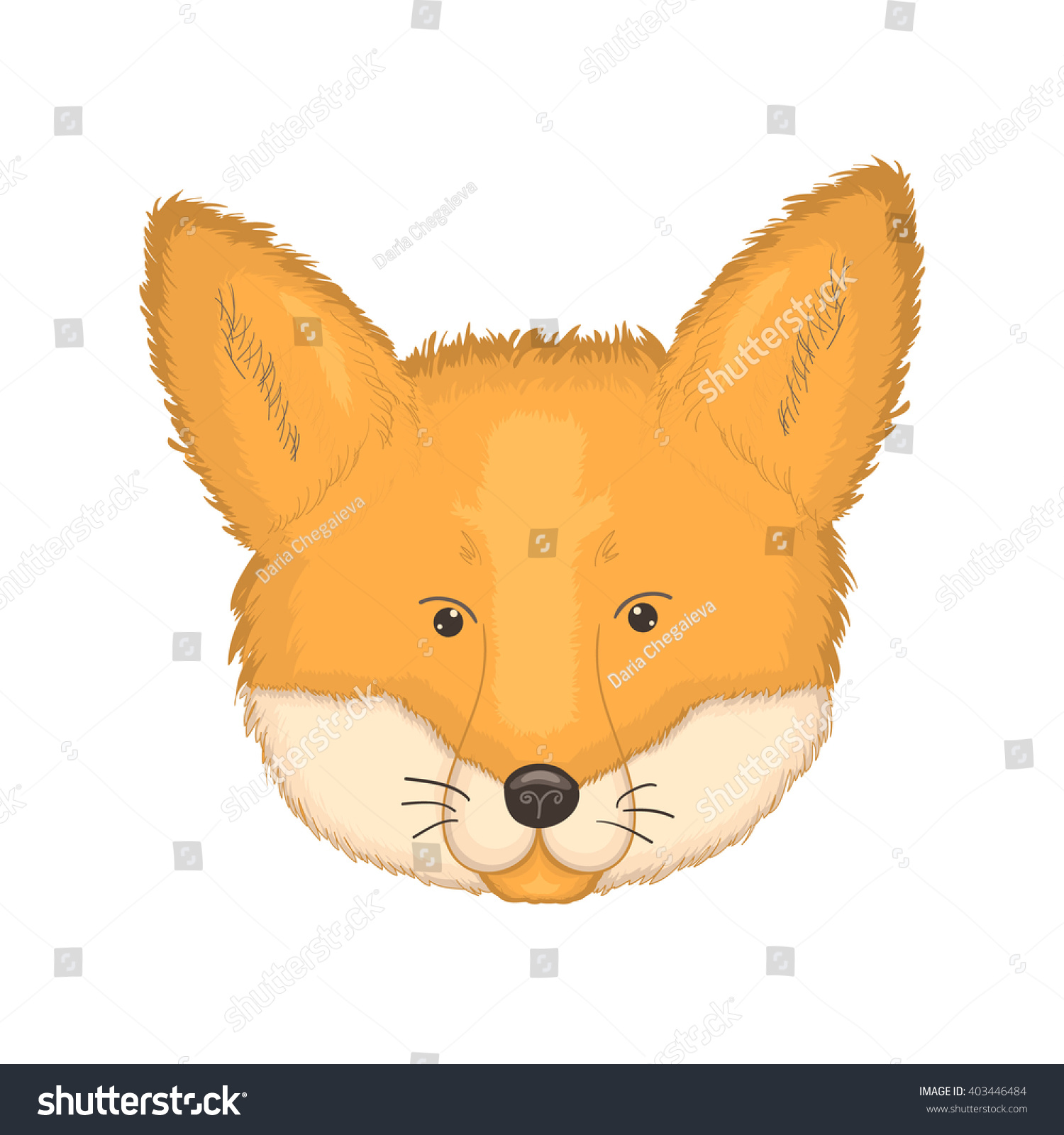 Fox with a hat new year or christmas animal isolated on white - Cartoon Fox Head Face Of Forest Animal Vector Illustration Isolated On White Icon