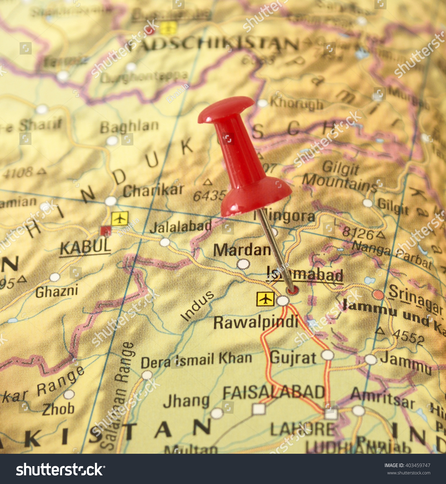 Map Pakistan Pin Set On Islamabad Stock Photo Shutterstock - Charikar map