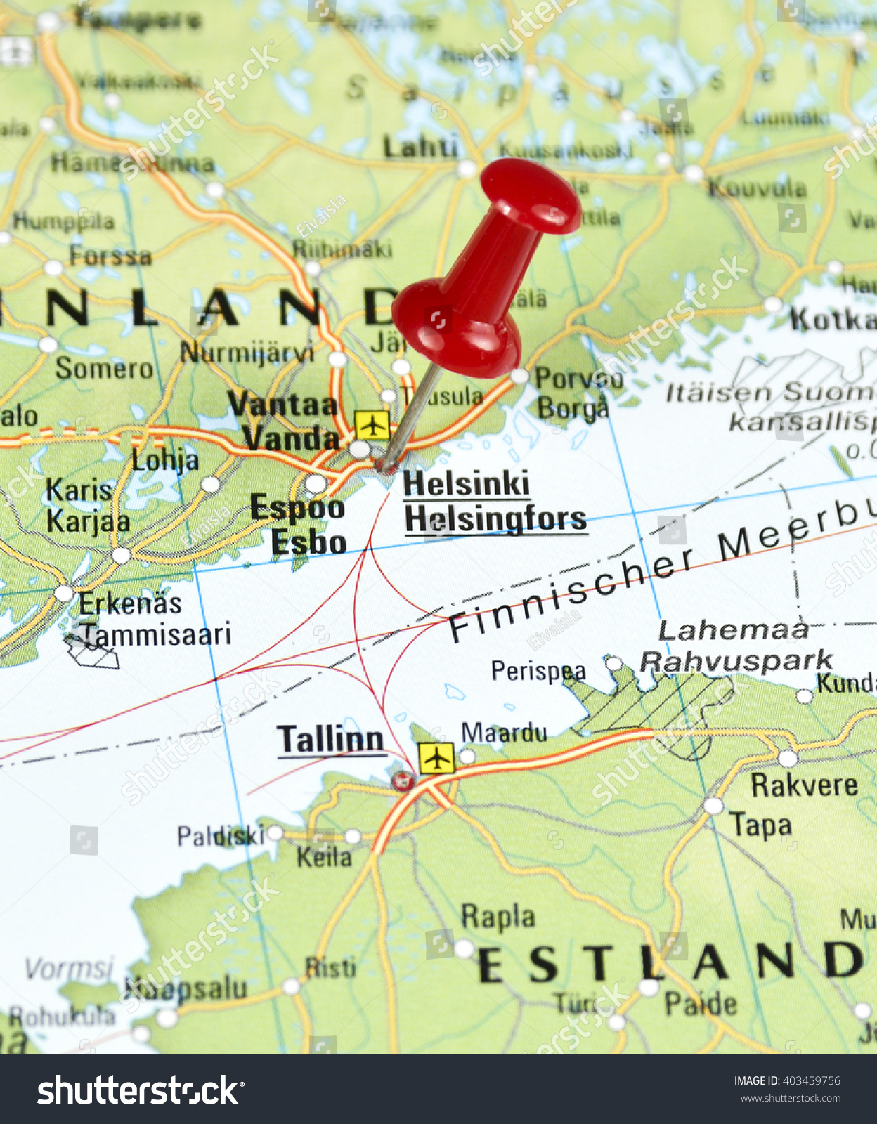 Map Finnland Pin Set On Helsinki Stock Photo 403459756 Shutterstock