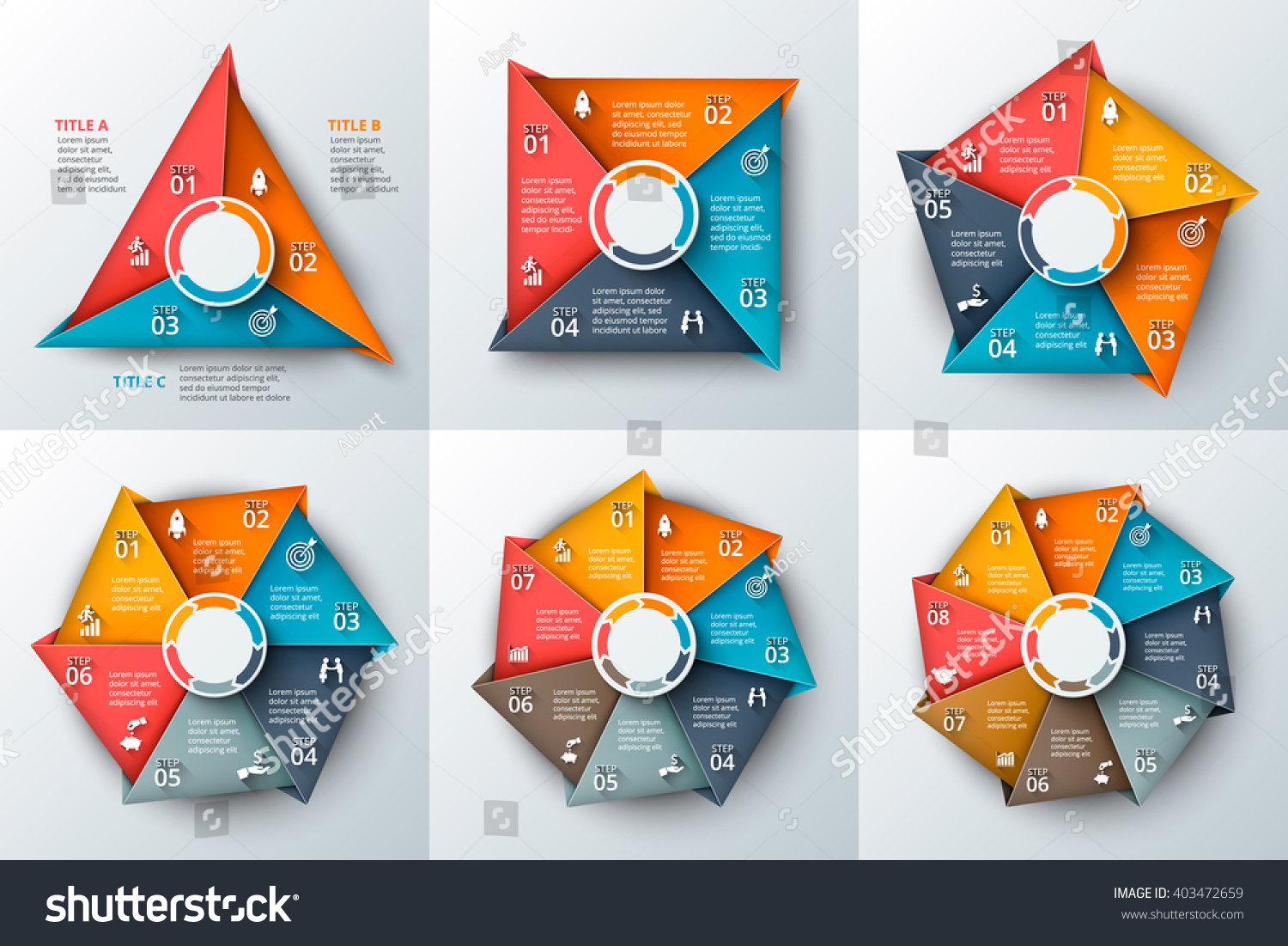 set geometric shapes infographic template cycle stock vector