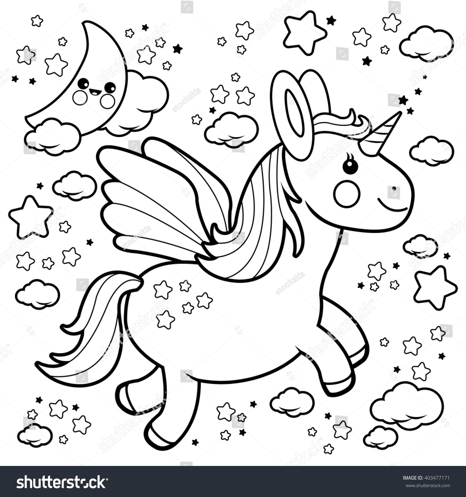 Cute Unicorn Flying In The Night Sky Coloring Book Page