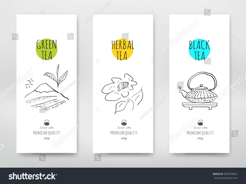 Tea Design Package Green Tea Packaging Stock Vector
