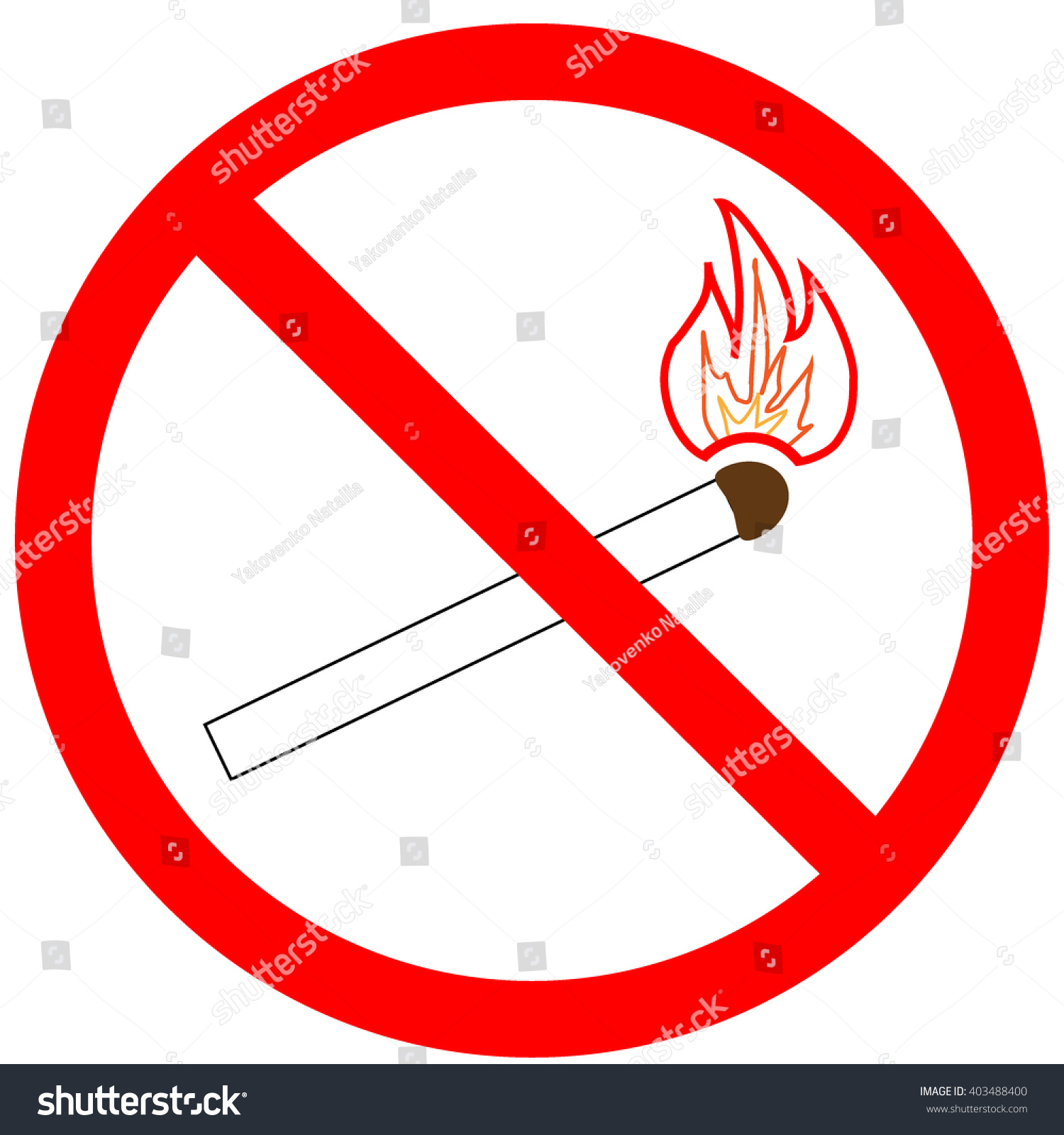 Not Light Match Sign Red Ring Stock Vector Royalty Free 403488400