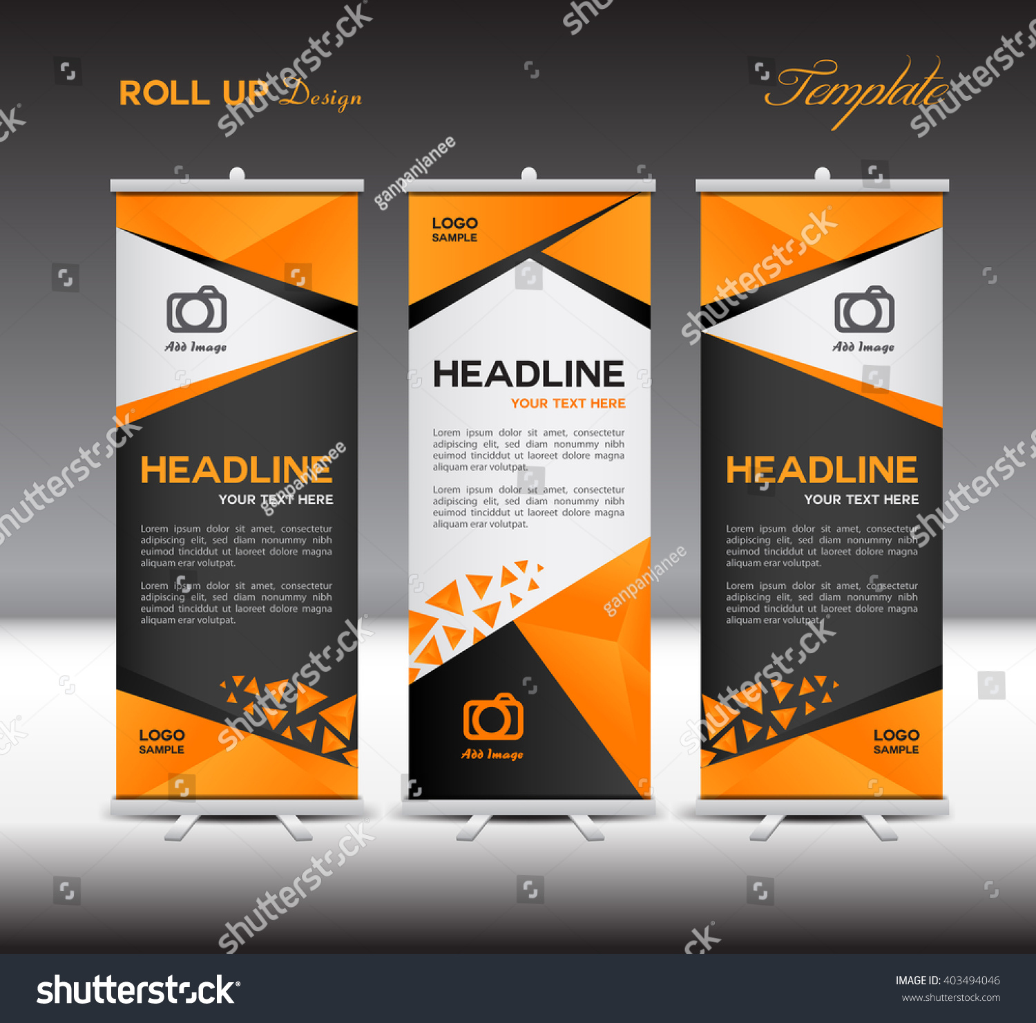 orange and black roll up banner vector template display polygon orange and black roll up banner vector template display polygon background advertisement