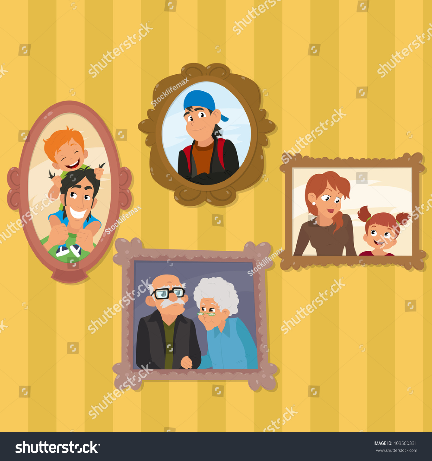 Family Portraits Hanging On Wall Living Stock Vector 403500331 ...