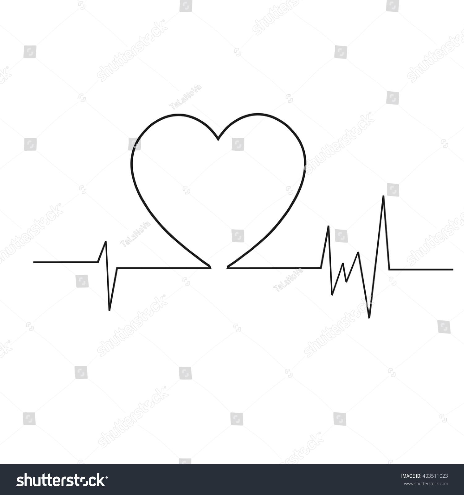 Heart Cardiogram Life Line Symbol Heart Stock Vector Royalty Free