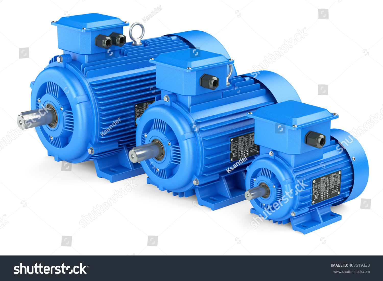 Group blue electric industrial motors isolated stock for Used industrial electric motors
