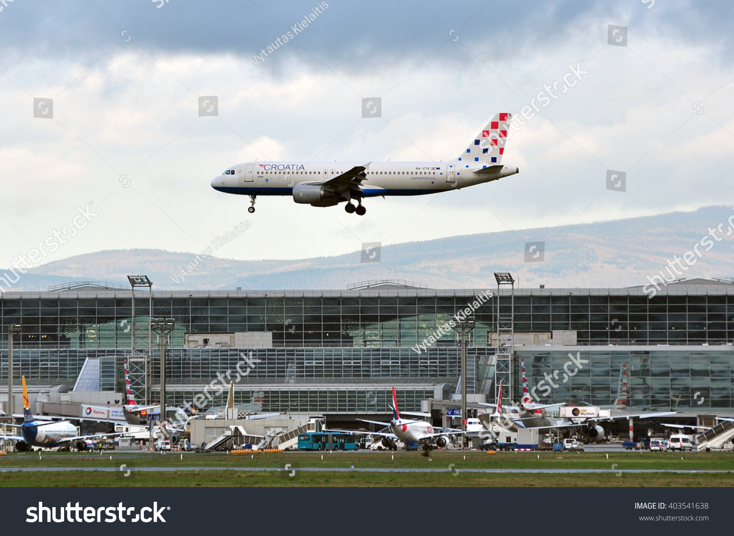 frankfurtgermanyapril 07airplane croatia airlines above frankfurt stock photo 403541638. Black Bedroom Furniture Sets. Home Design Ideas