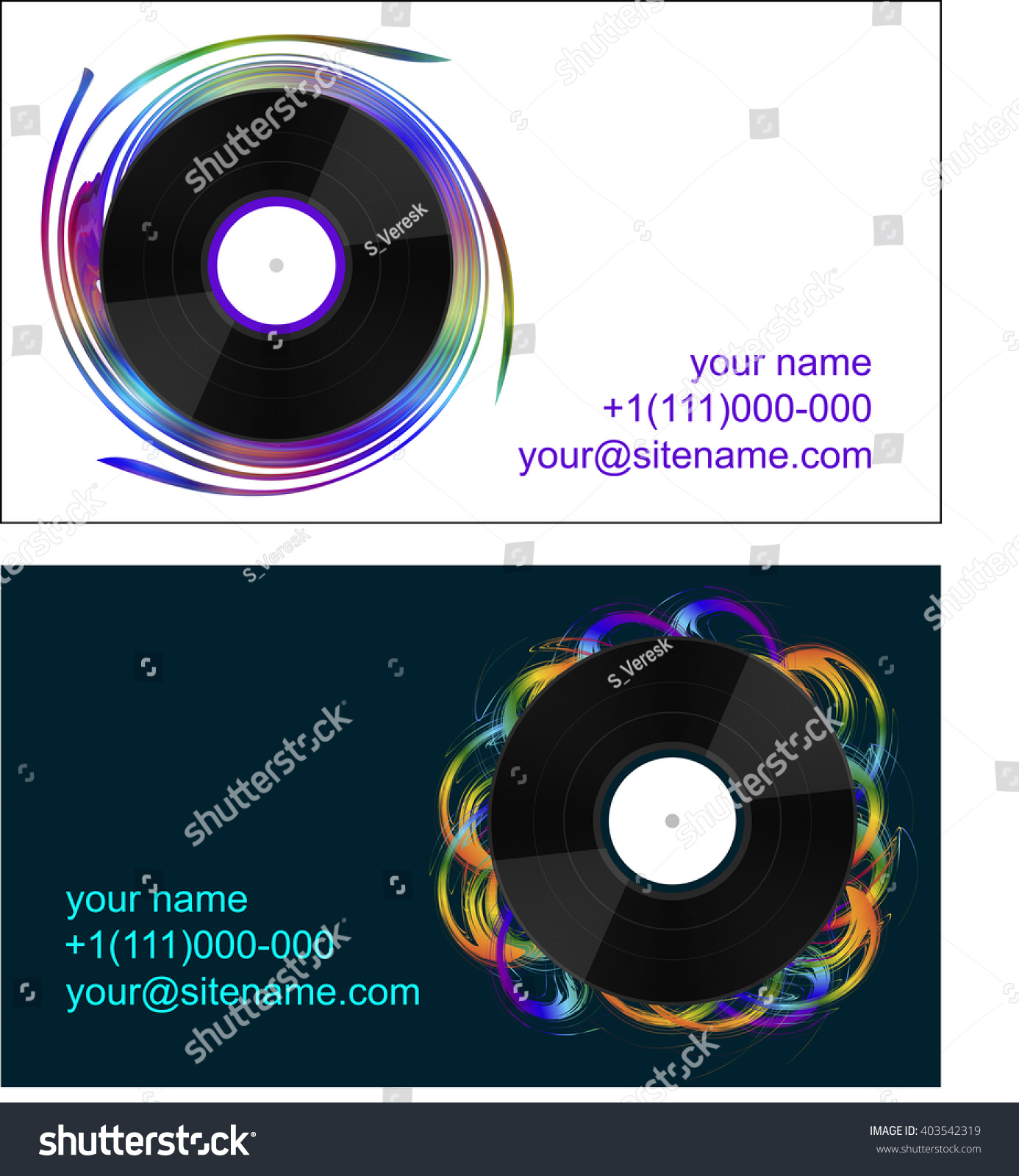 Business Cards Vinyl Records On Abstract Stock Vector HD (Royalty ...