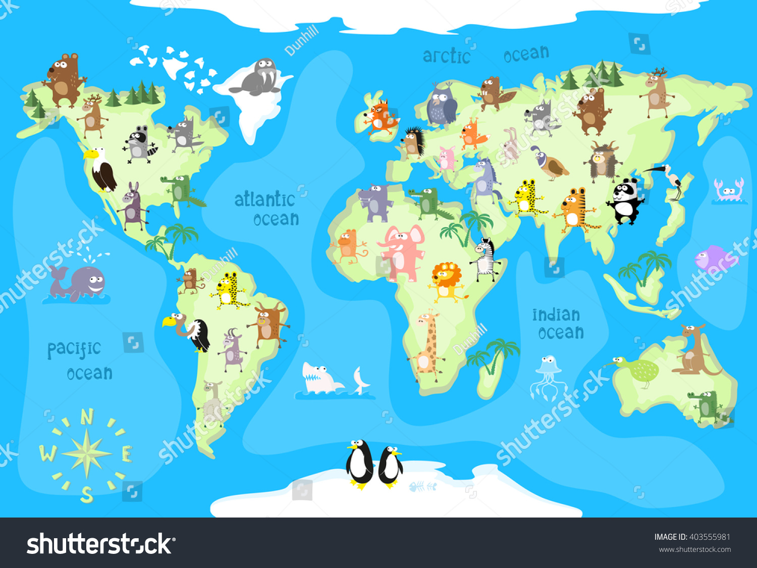 World Map With Animals Vector Illustration In Cartoon Style stock ...