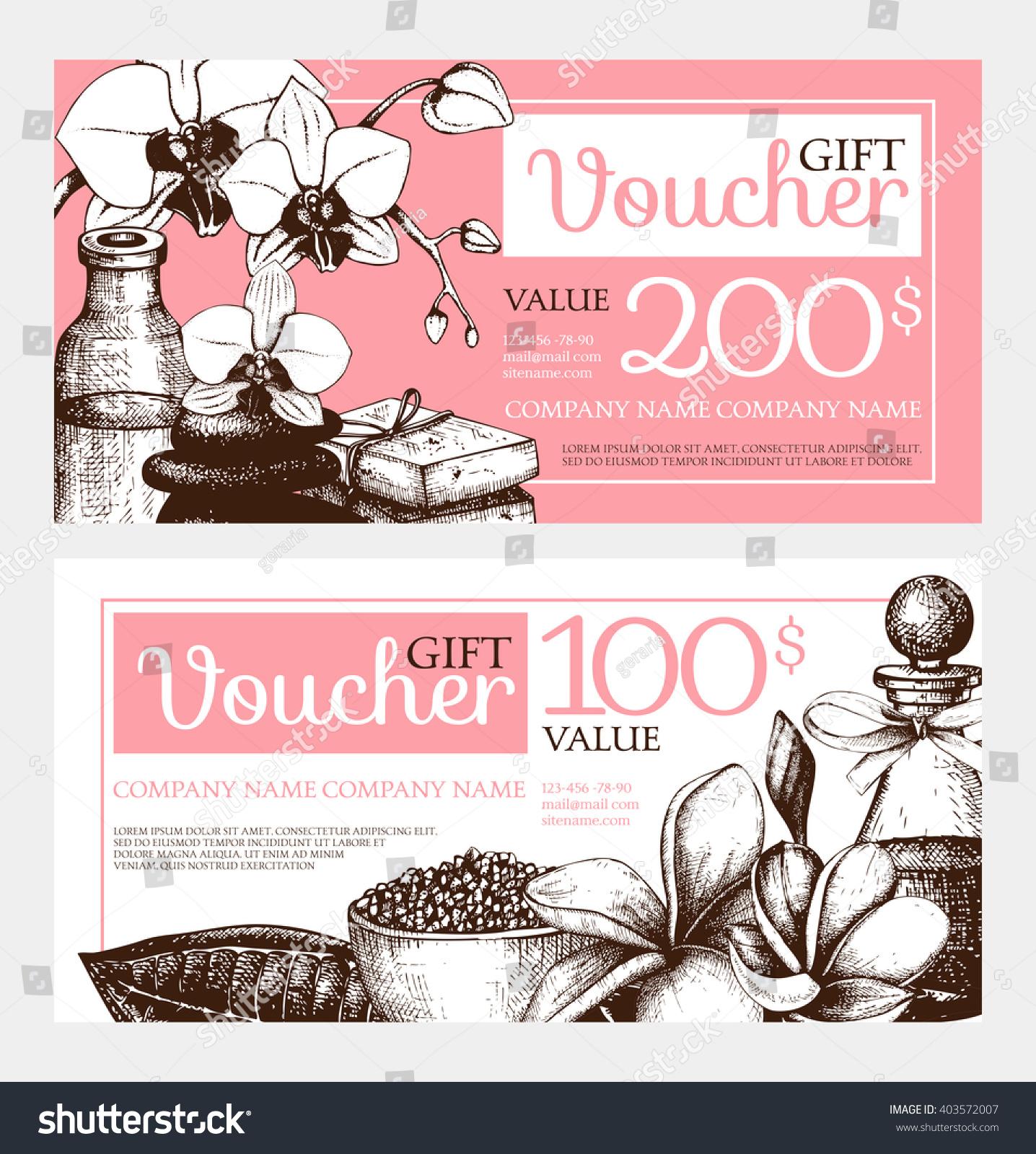 Vector Gift Voucher Design Hand Drawn Stock Vector 403572007 - Shutterstock
