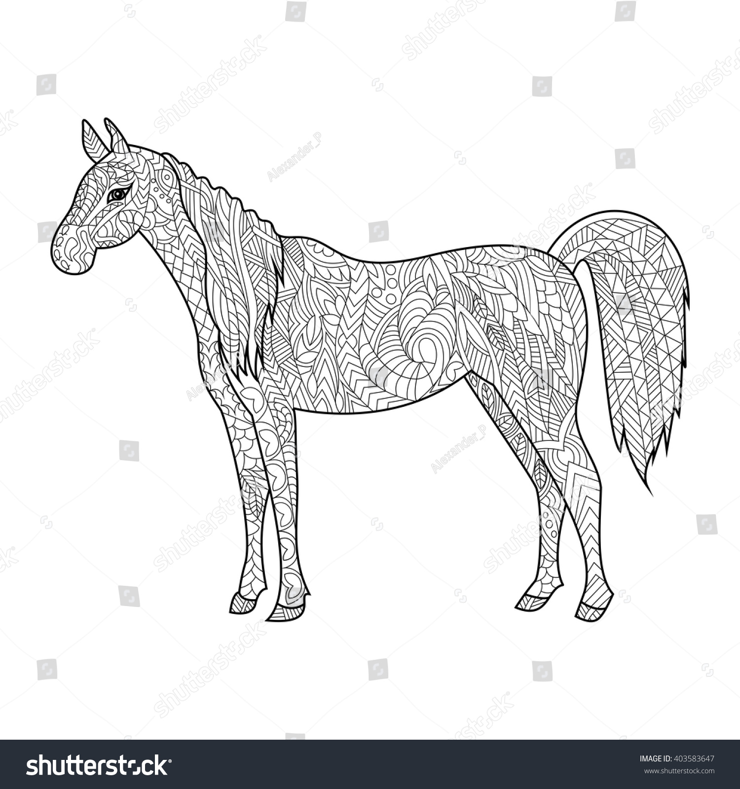 Horse Animal Coloring Book For Adults Vector Illustration Anti Stress Adult