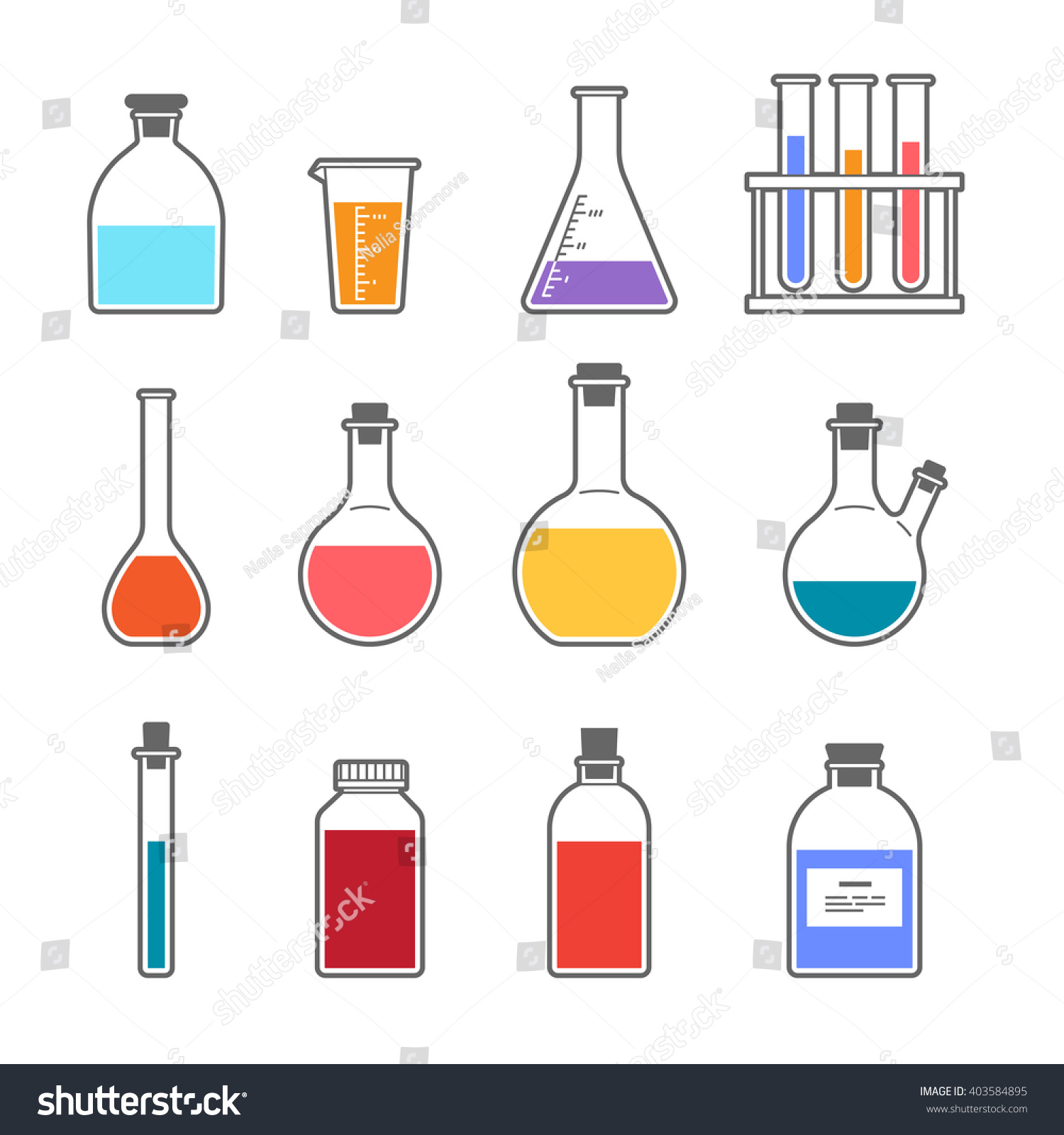 set chemical flask erlenmeyer flask distilling stock vector (royalty