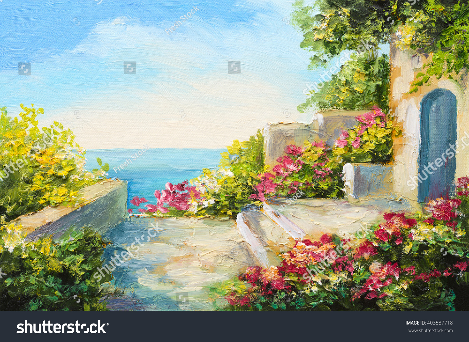 oil painting house near sea colorful stock illustration 403587718