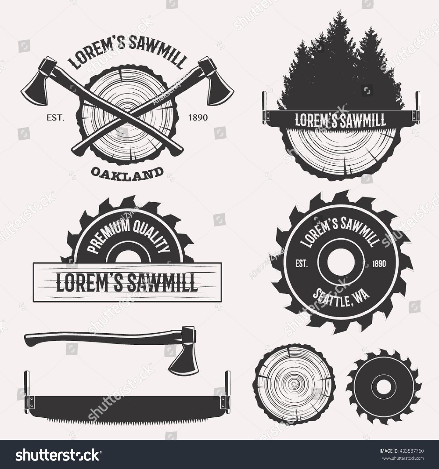 Vintage Sawmill Logo Set Labels Badges Stock Vector