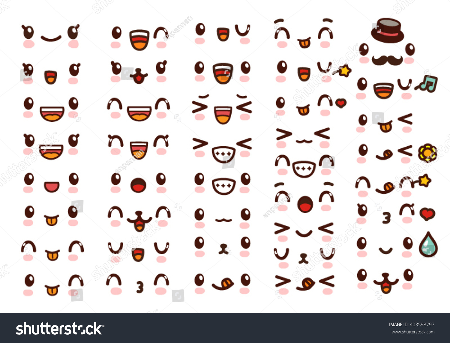 collection of cute lovely kawaii emoticon emoji doodle cartoon face smile happy wink