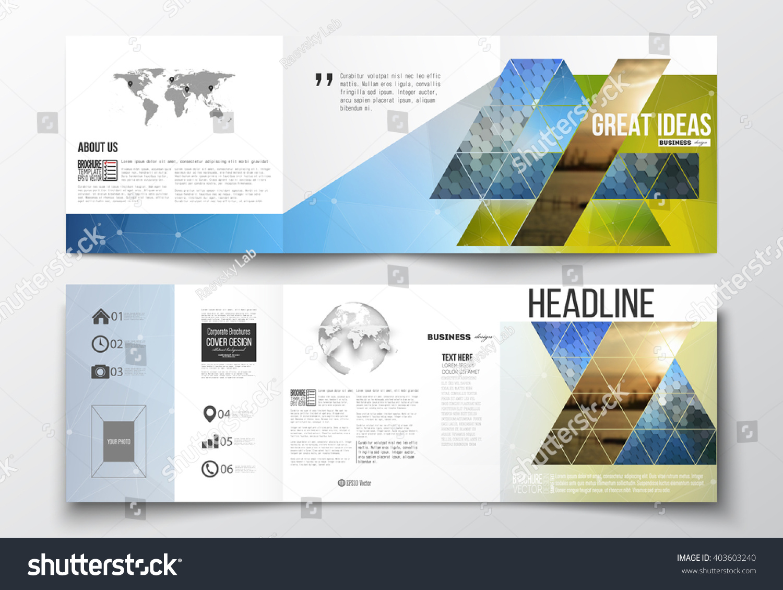 vector set trifold brochures square design stock vector 403603240