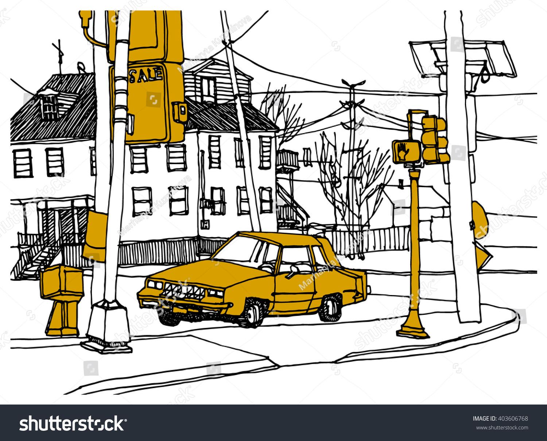 Scene Street Illustration Hand Drawn Ink Stock Vector 403606768 ...