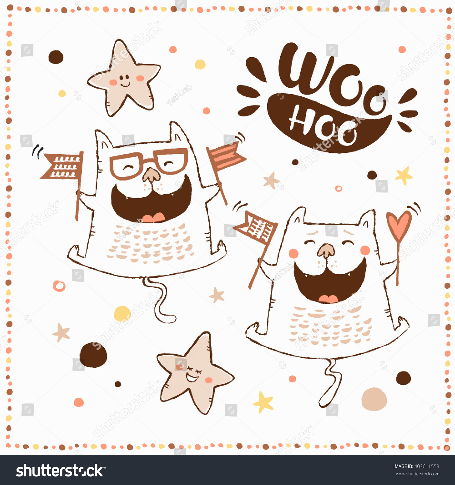 Happy Birthday Card With Cute Funny Cats And Hand Littering Lovely Theme Set Made