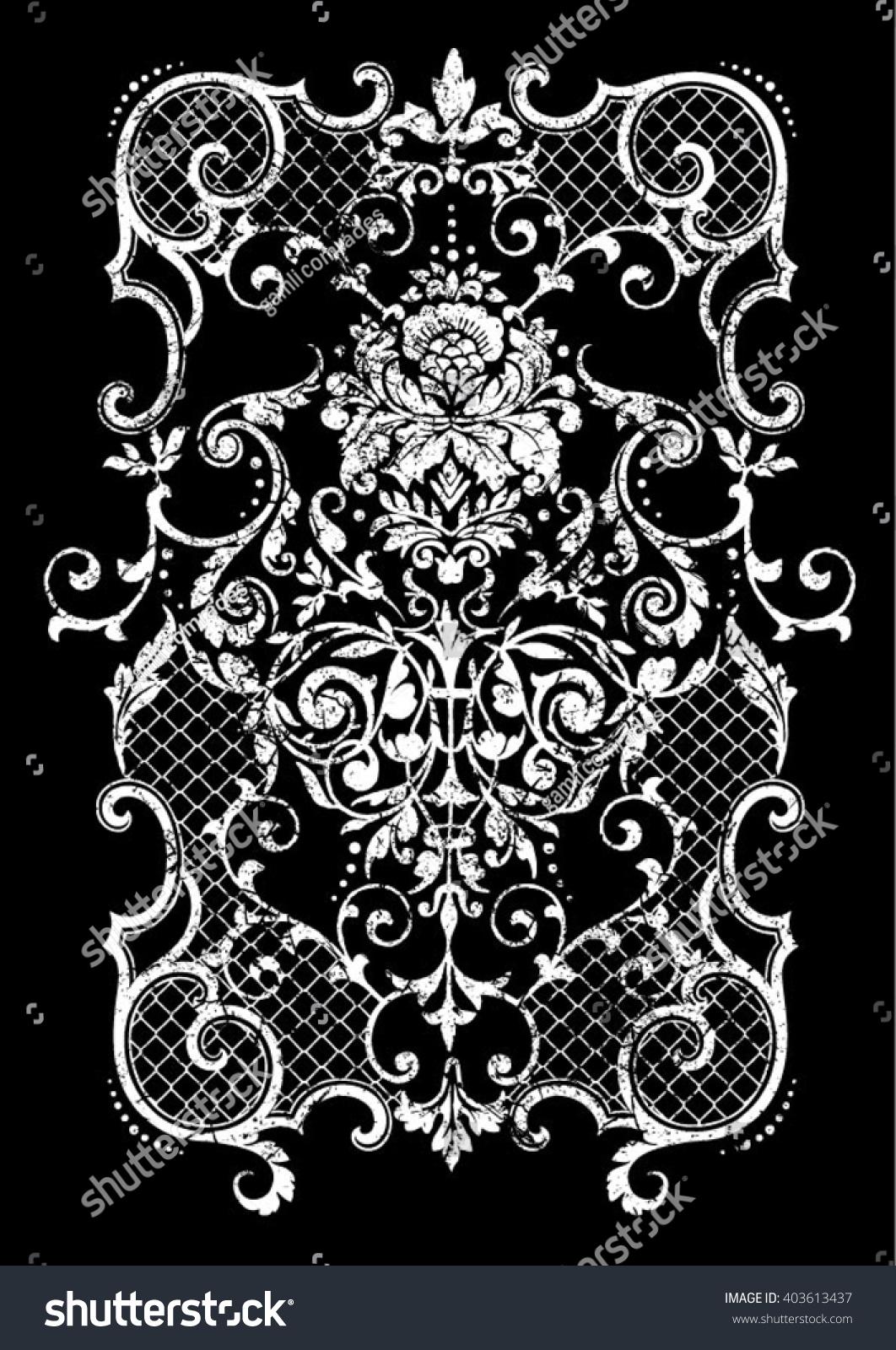 vintage baroque border flower motif retro stock vector. Black Bedroom Furniture Sets. Home Design Ideas