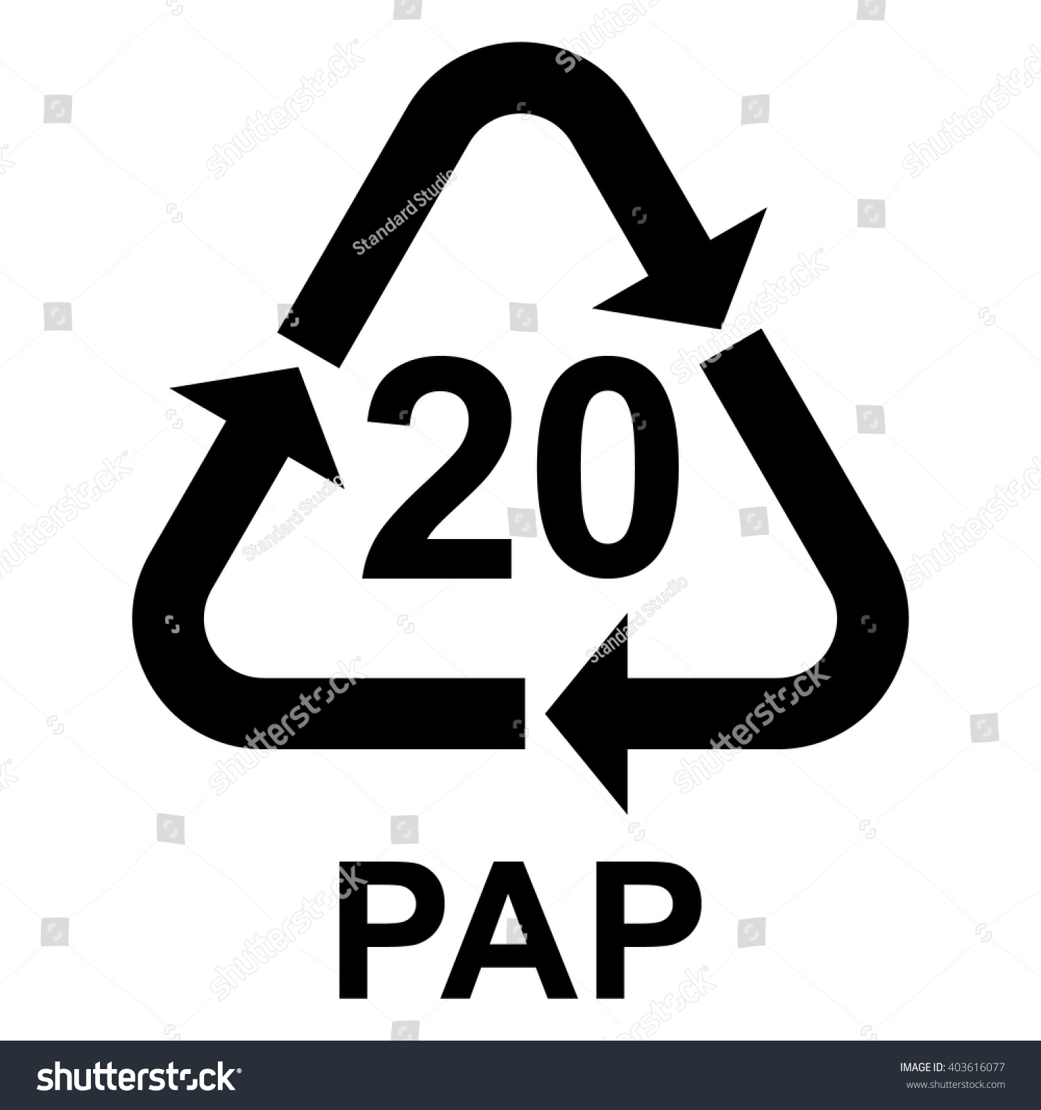 Paper recycling symbol pap 20 cardboard stock vector 403616077 paper recycling symbol pap 20 cardboard vector illustration buycottarizona