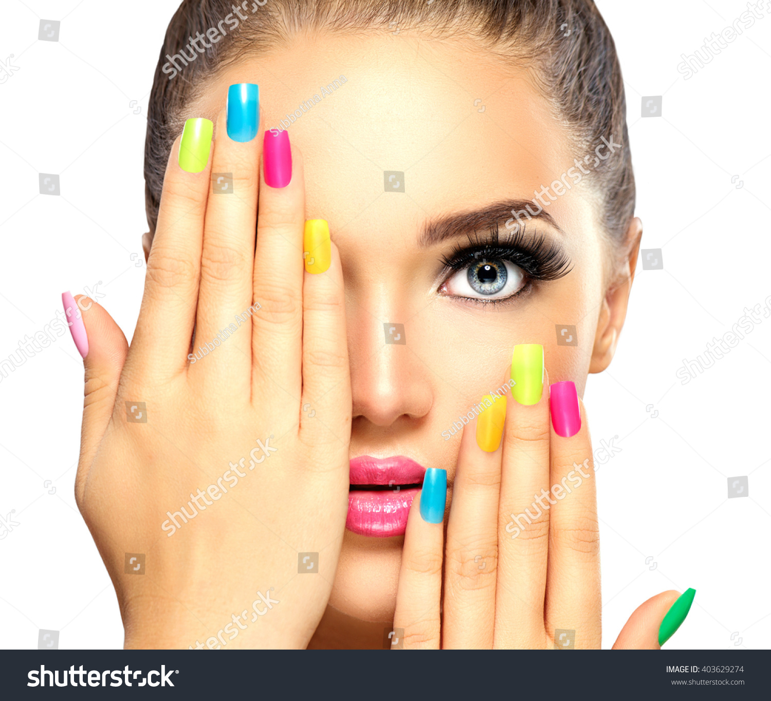 Beauty Girl Face Colorful Nail Polish Stock Photo (Safe to Use ...