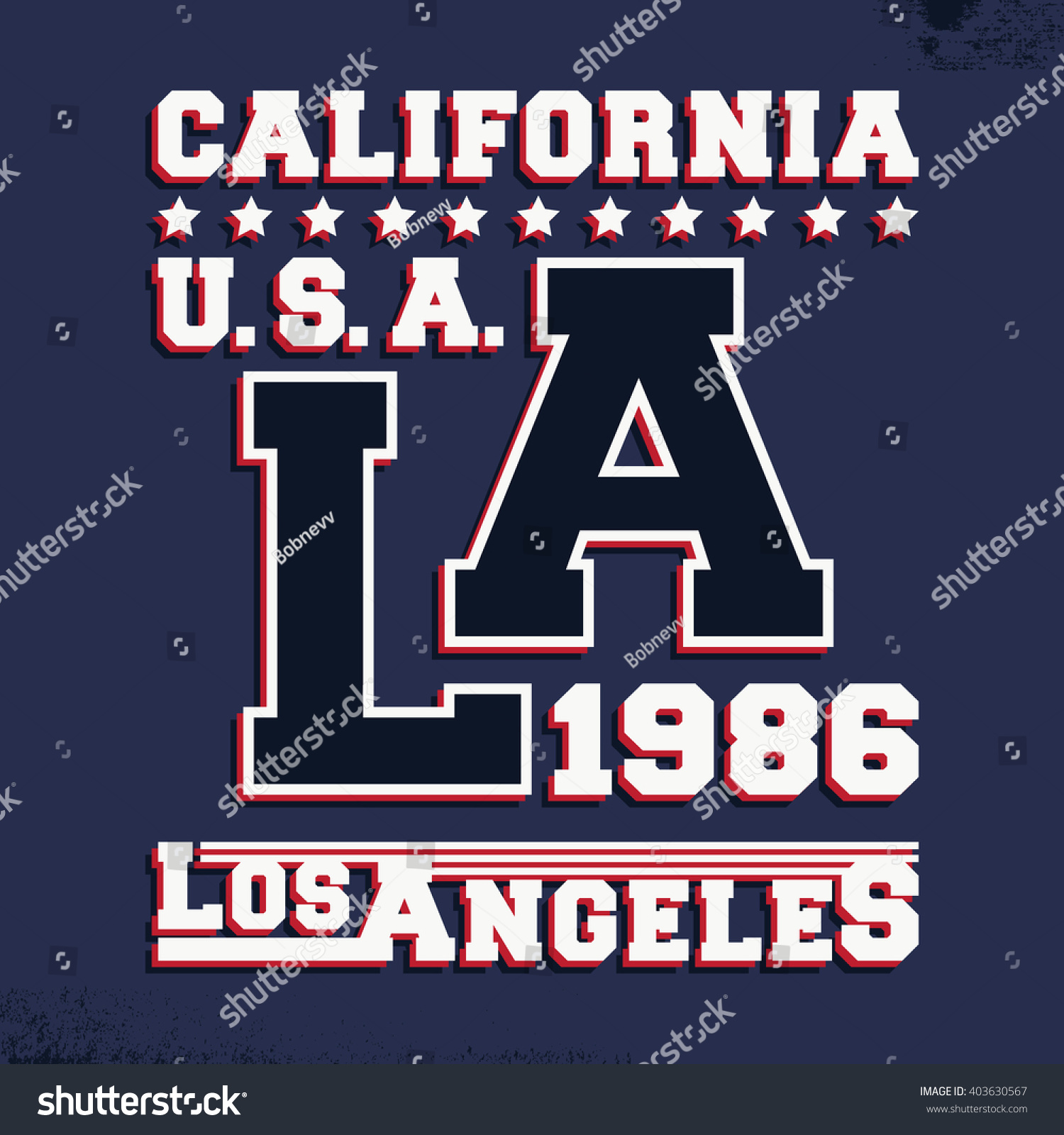 T Shirt Print Design California Los Angeles Vintage Stamp Printing