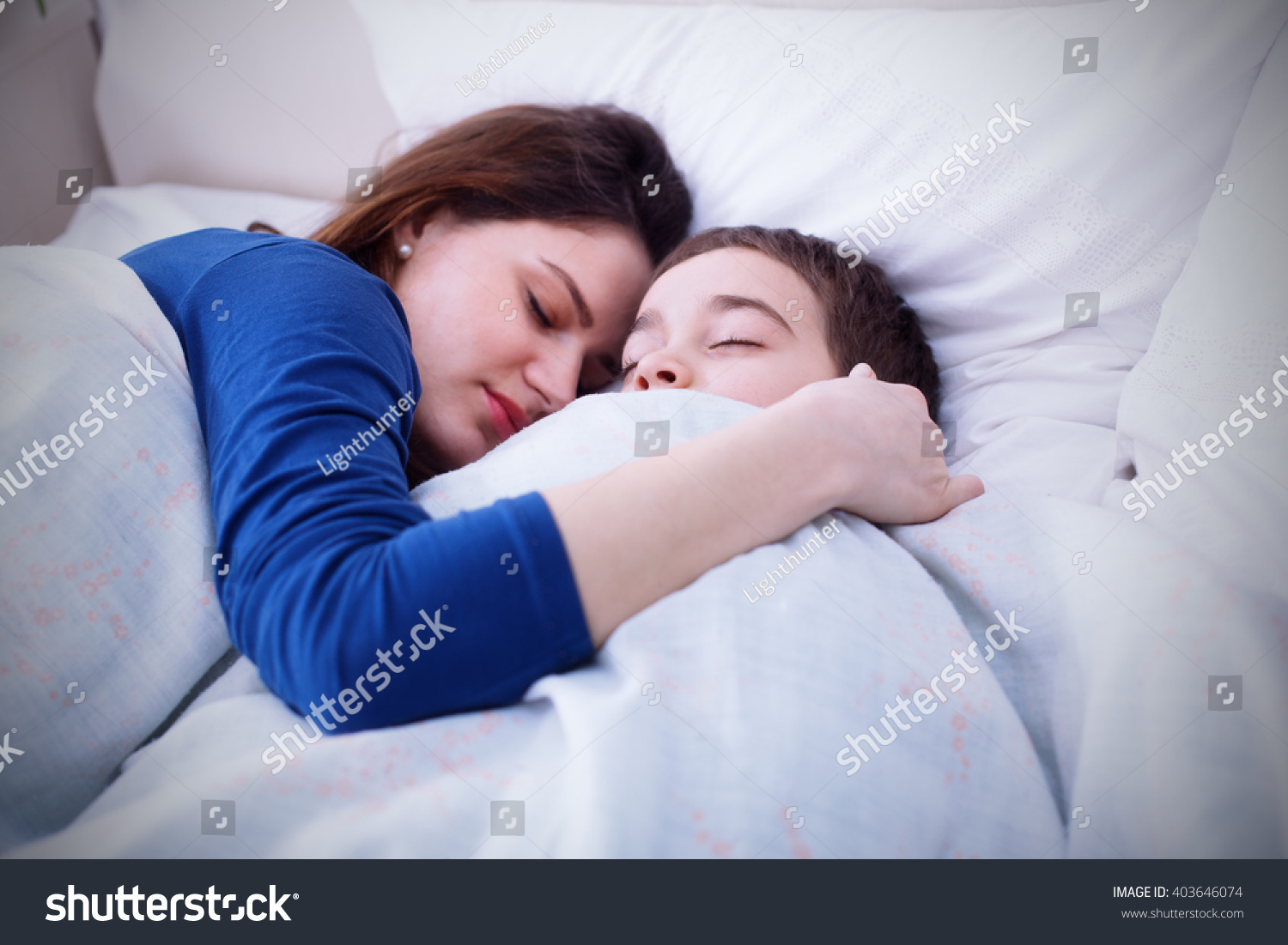 Mother Son Sleeping Together Having Restful Stock Photo (Royalty ...