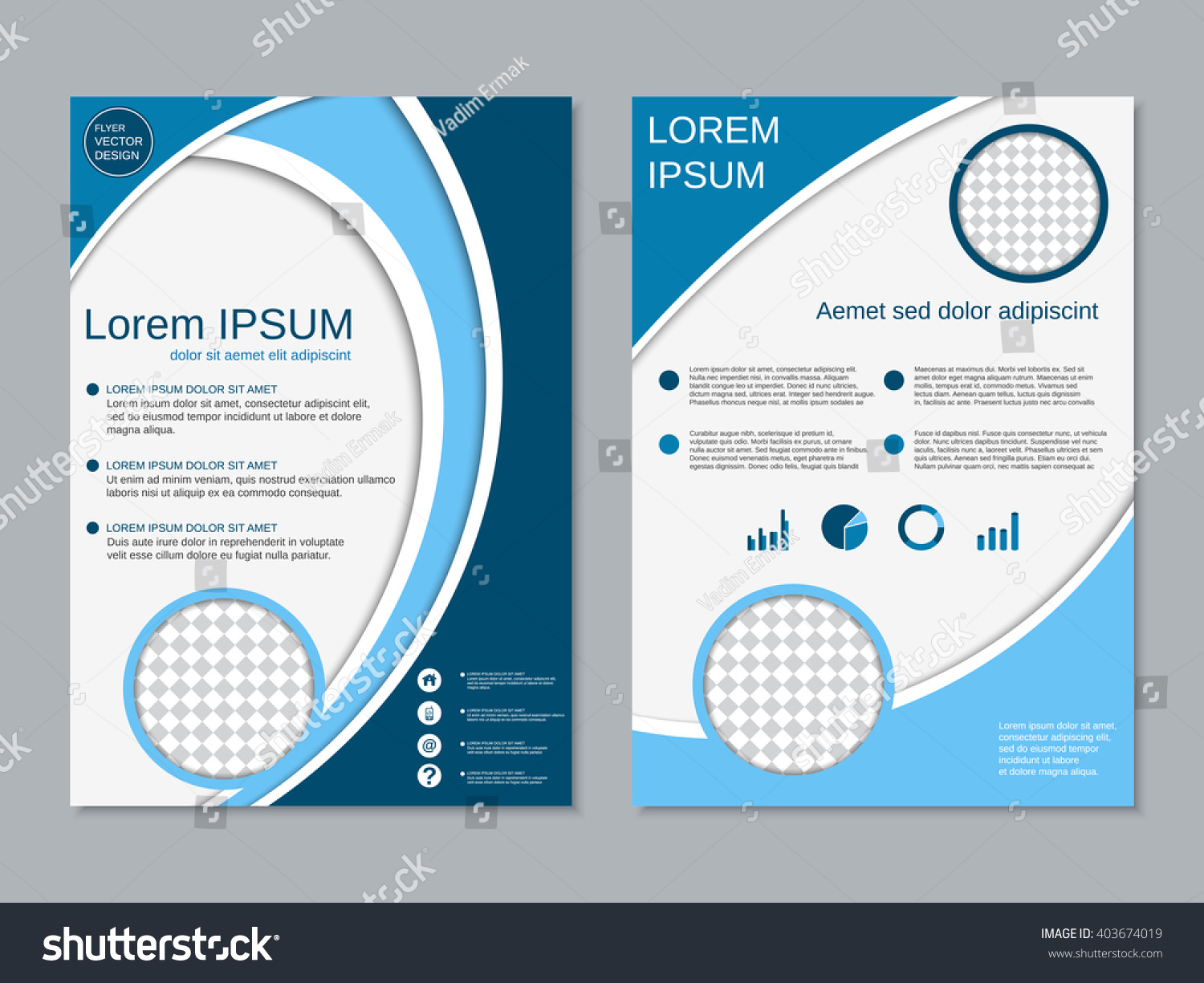 Modern Professional Twosided Flyer Vector Template Stock Vector ...