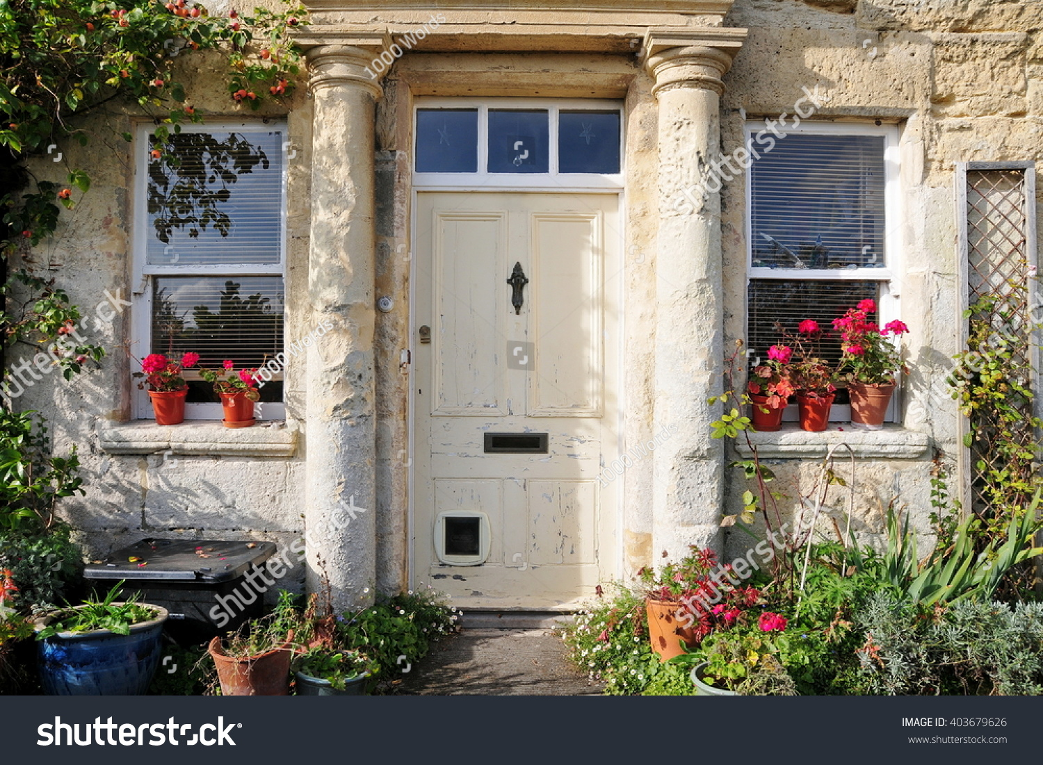 Front door of an old english cottage - Front Door Of A Beautiful Old English House