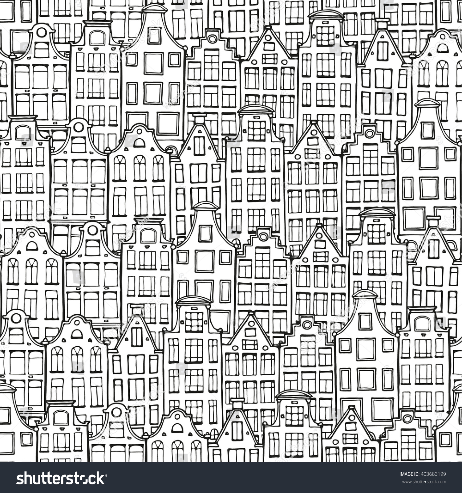 Hand Drawn Doodle Houses Pattern Seamless Stock Vector