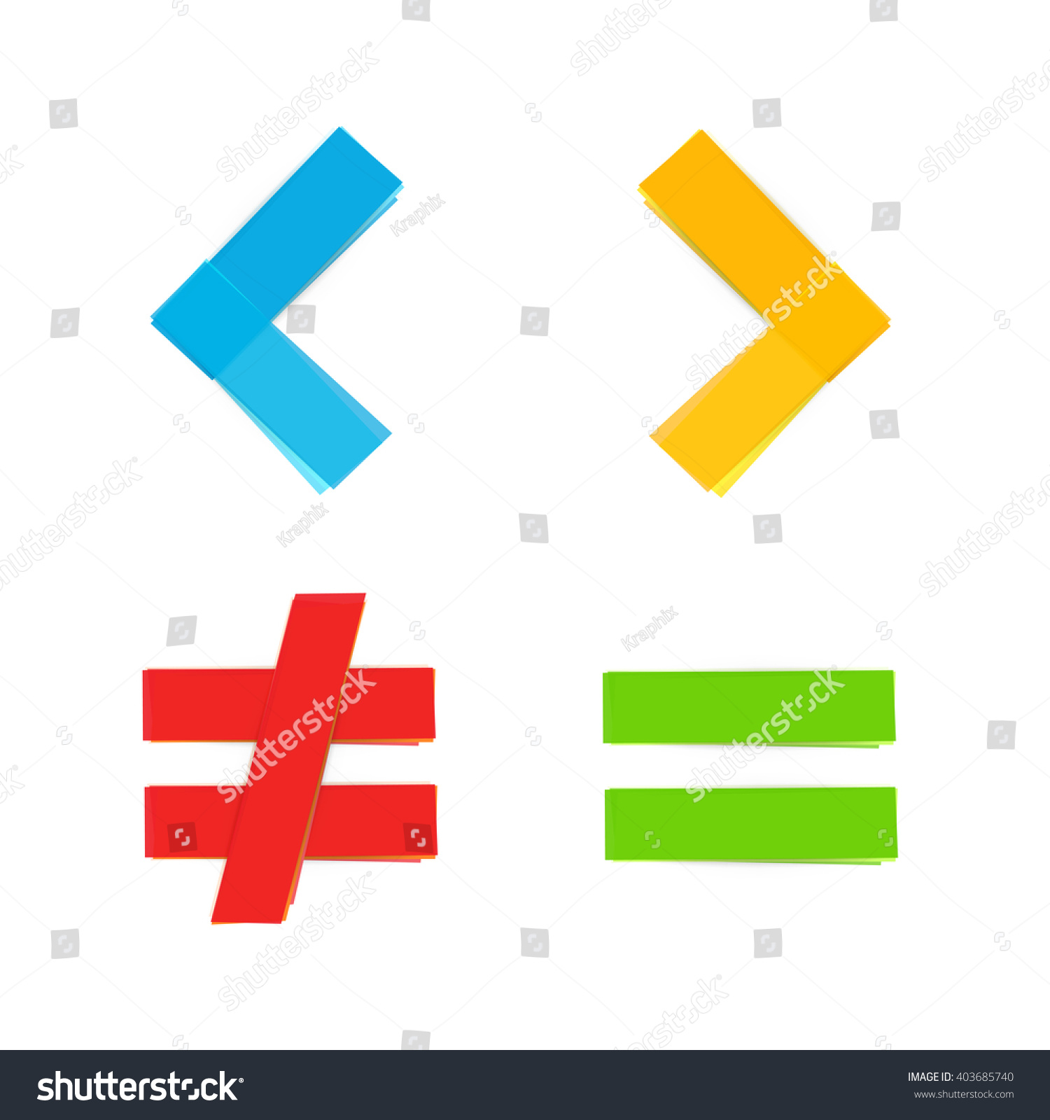 Basic Colorful Mathematical Symbols Equal Greater Stock Vector